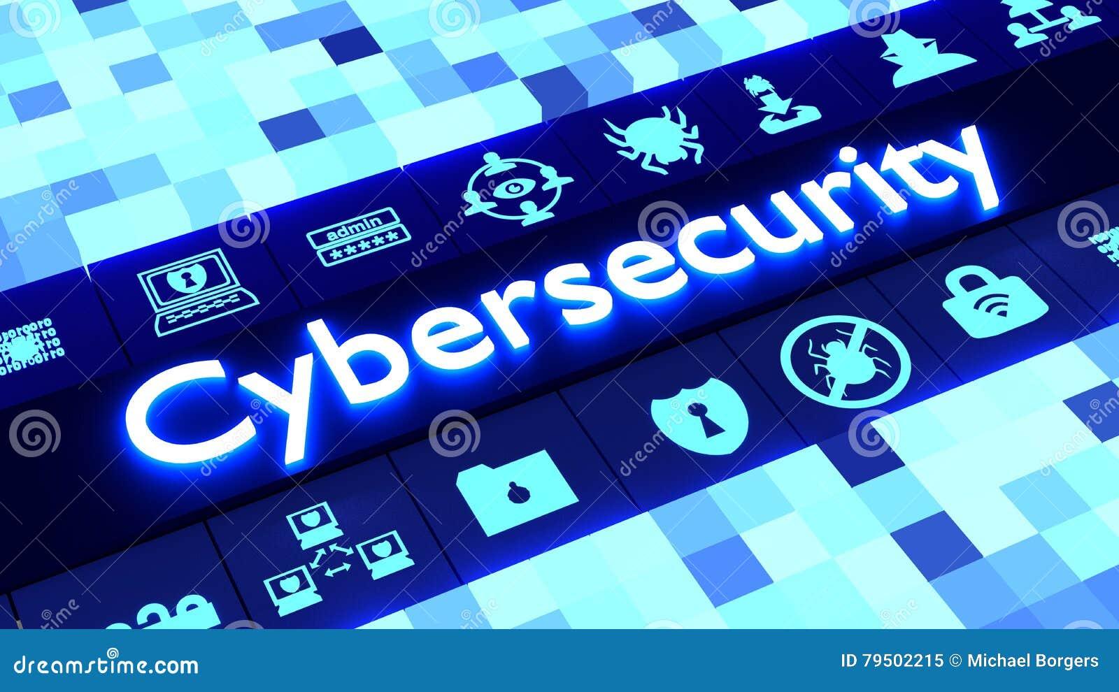 Concetto astratto di cybersecurity in blu con le icone