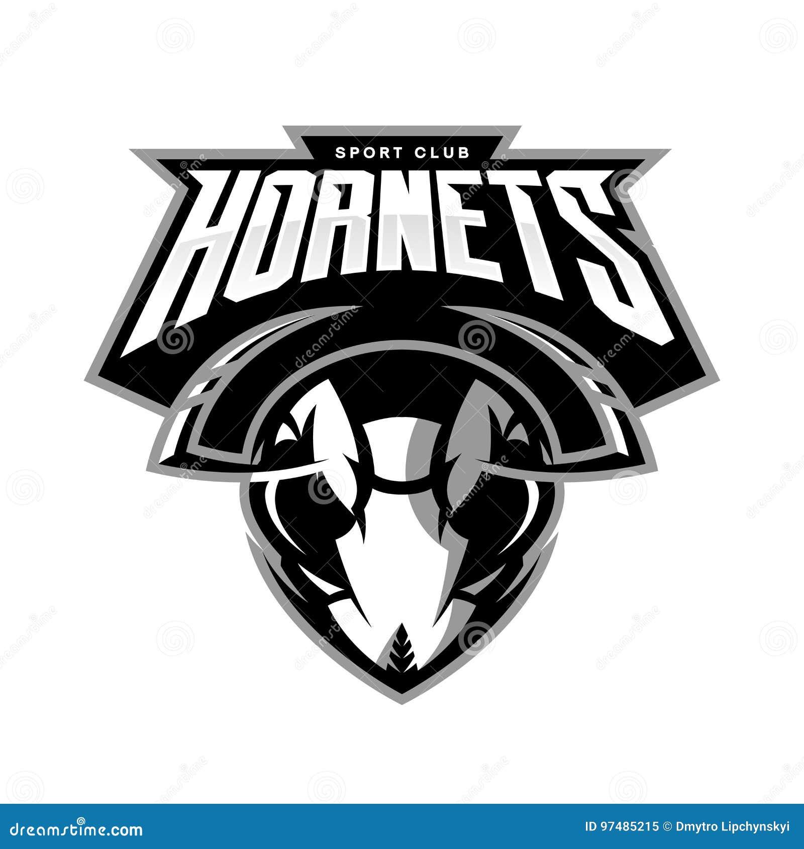 Concetto atletico di logo di vettore del club della testa furiosa del calabrone isolato su fondo bianco
