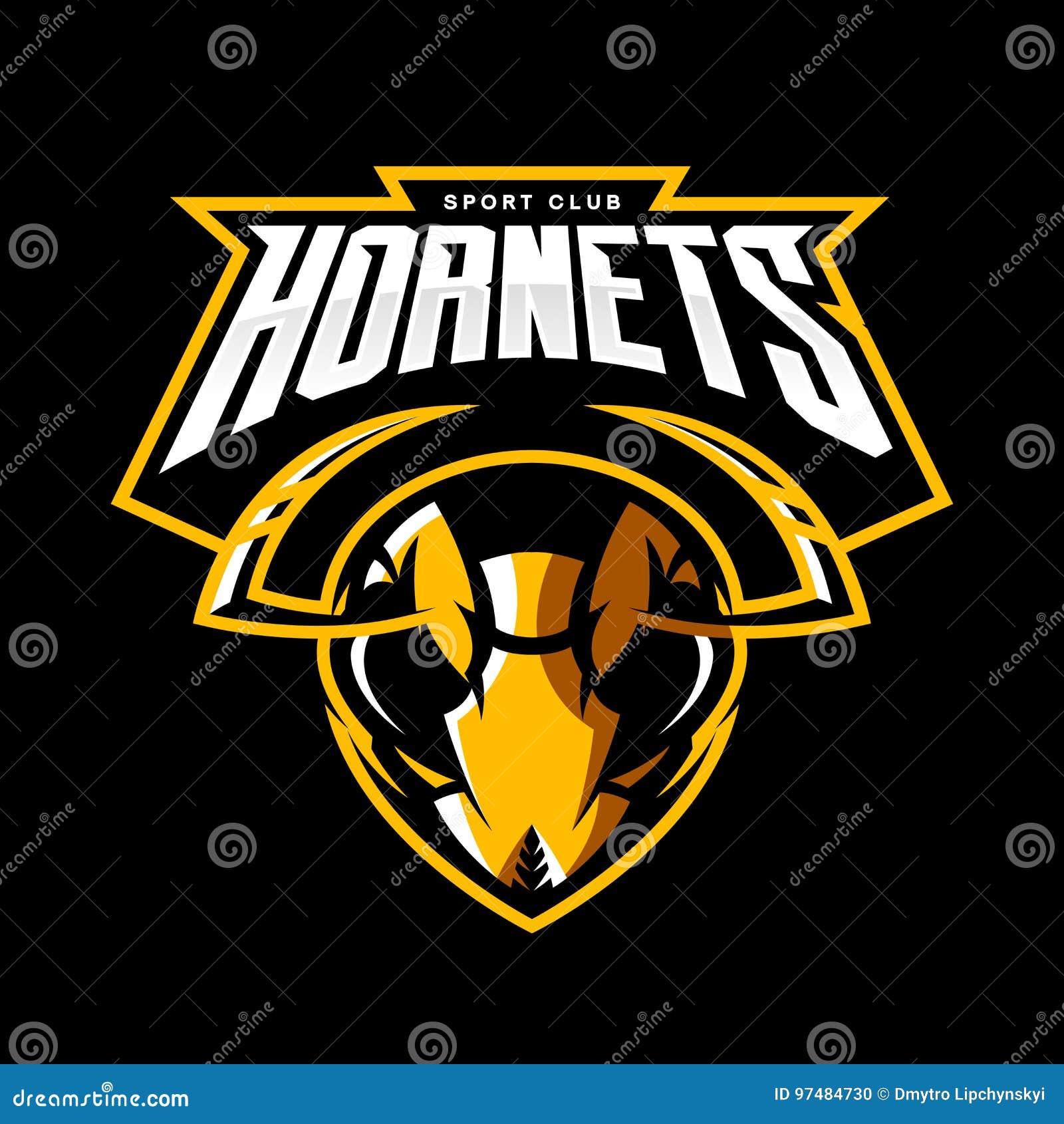 Concetto atletico di logo di vettore del club della testa furiosa del calabrone isolato su fondo nero