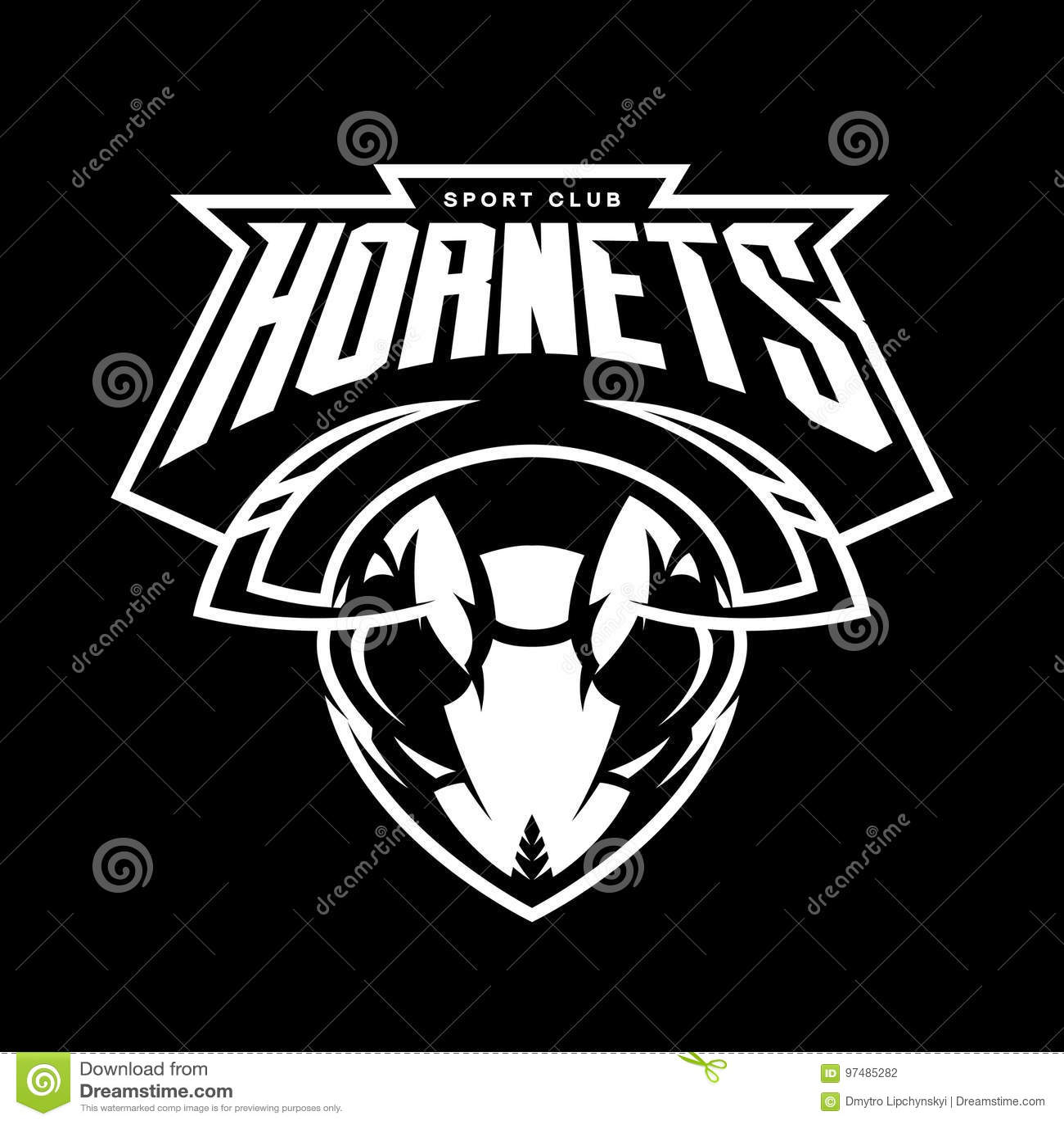 Concetto atletico di logo di vettore del club della testa furiosa del calabrone su fondo nero