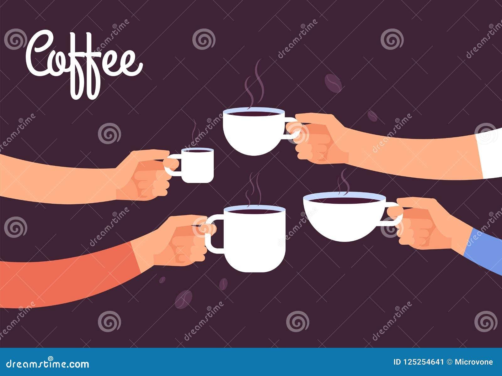 Concetto bevente del caffè Il caffè della bevanda degli amici per la prima colazione irrompe l ufficio con il concetto di vettore