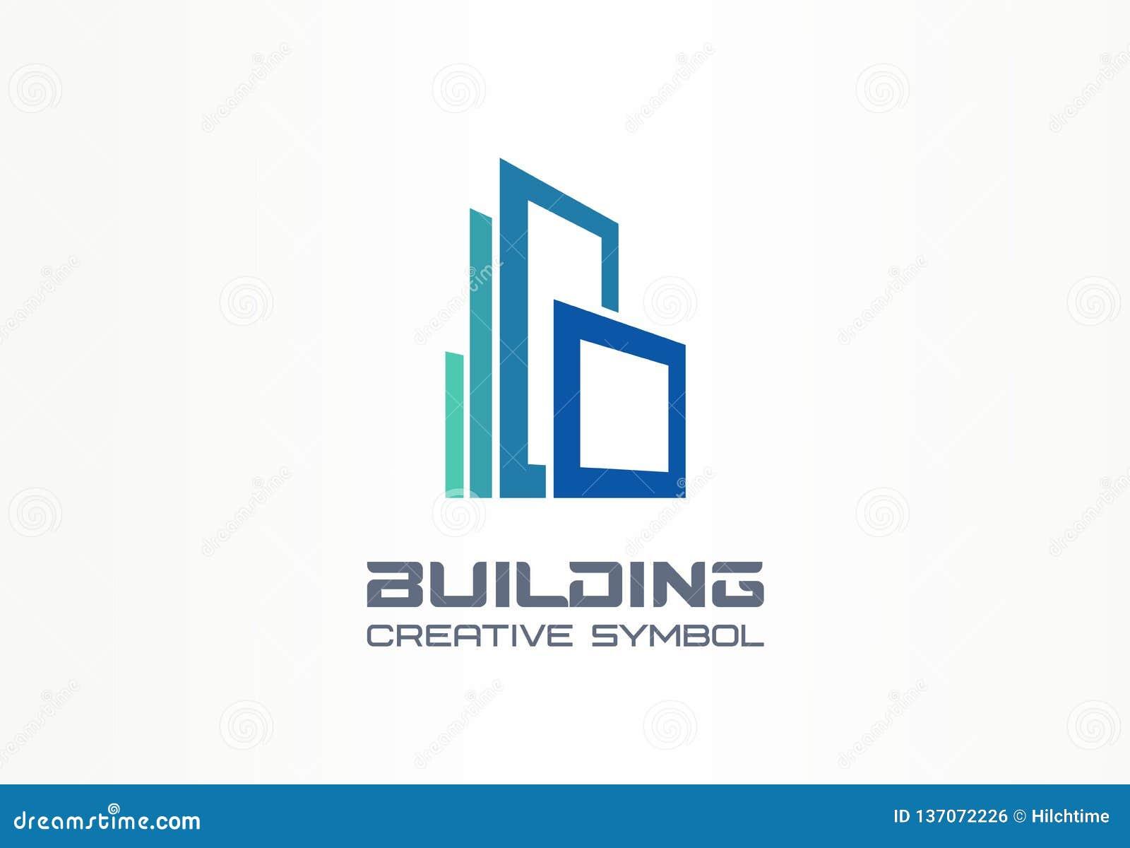 Concetto creativo di simbolo dell edificio per uffici Grattacielo moderno, 3d architetto, logo di affari dell estratto della silu
