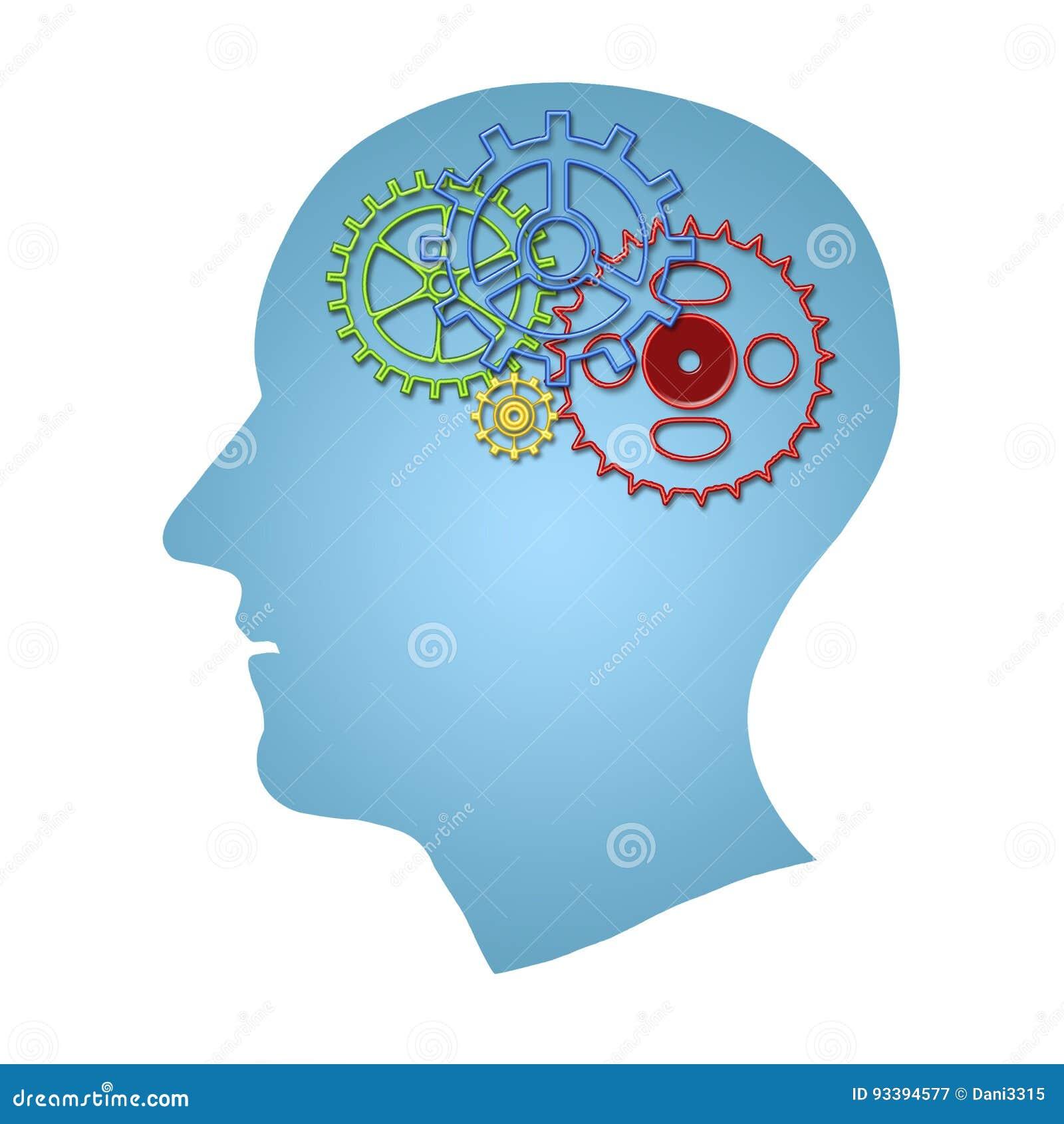 Concetto degli impianti di cervello Pensando, concetto di creatività della testa umana con l interno degli ingranaggi isolato sop