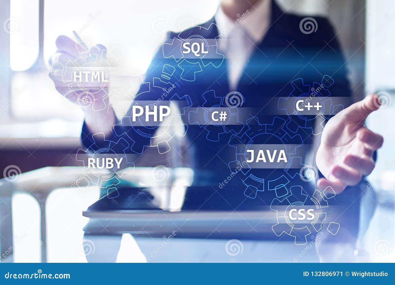 Concetto degli strumenti di sviluppo Web sullo schermo virtuale Linguaggio di programmazione e scritti PHP, SQL, HTML, Java ed al