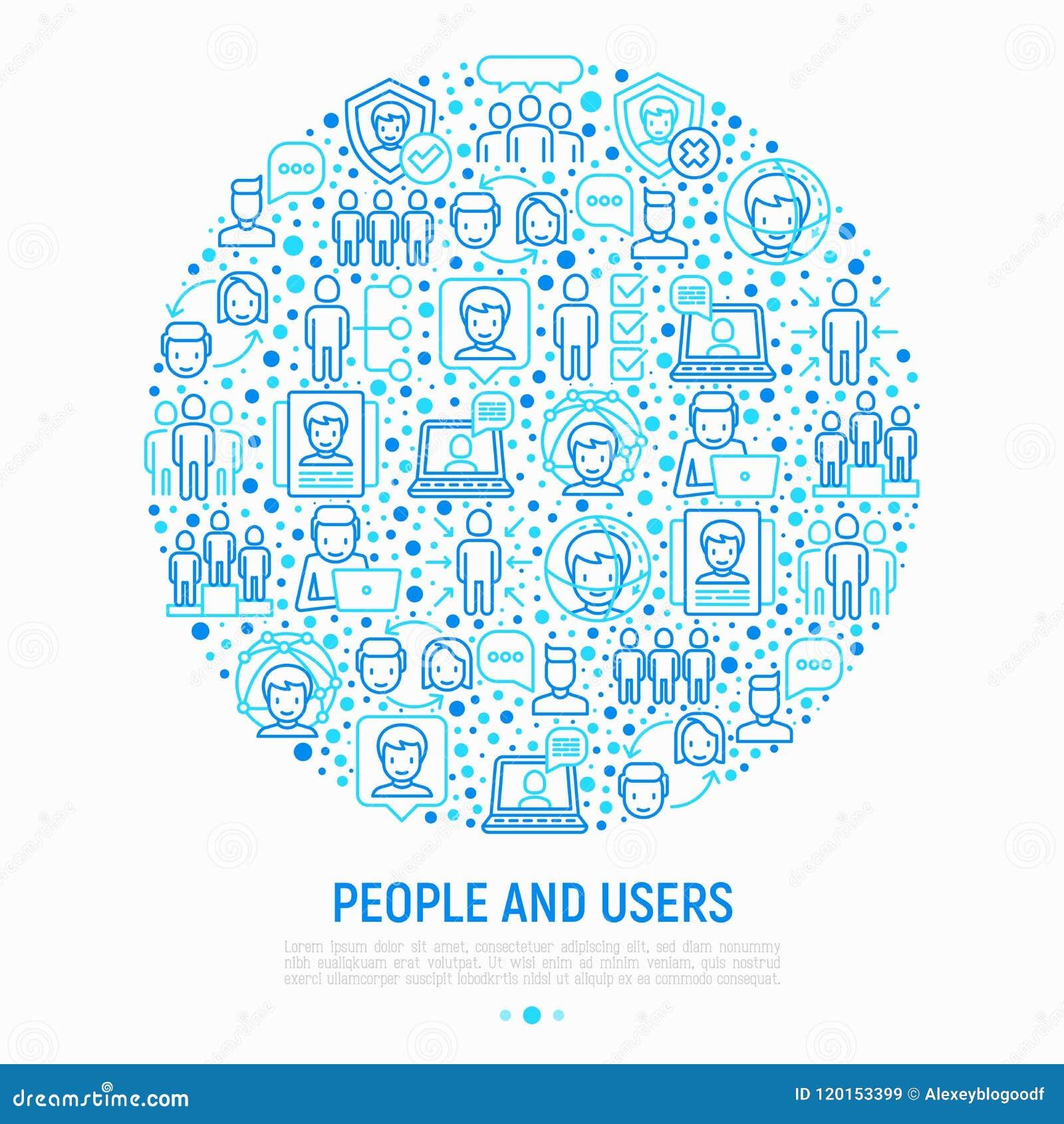 Concetto degli utenti e della gente nel cerchio