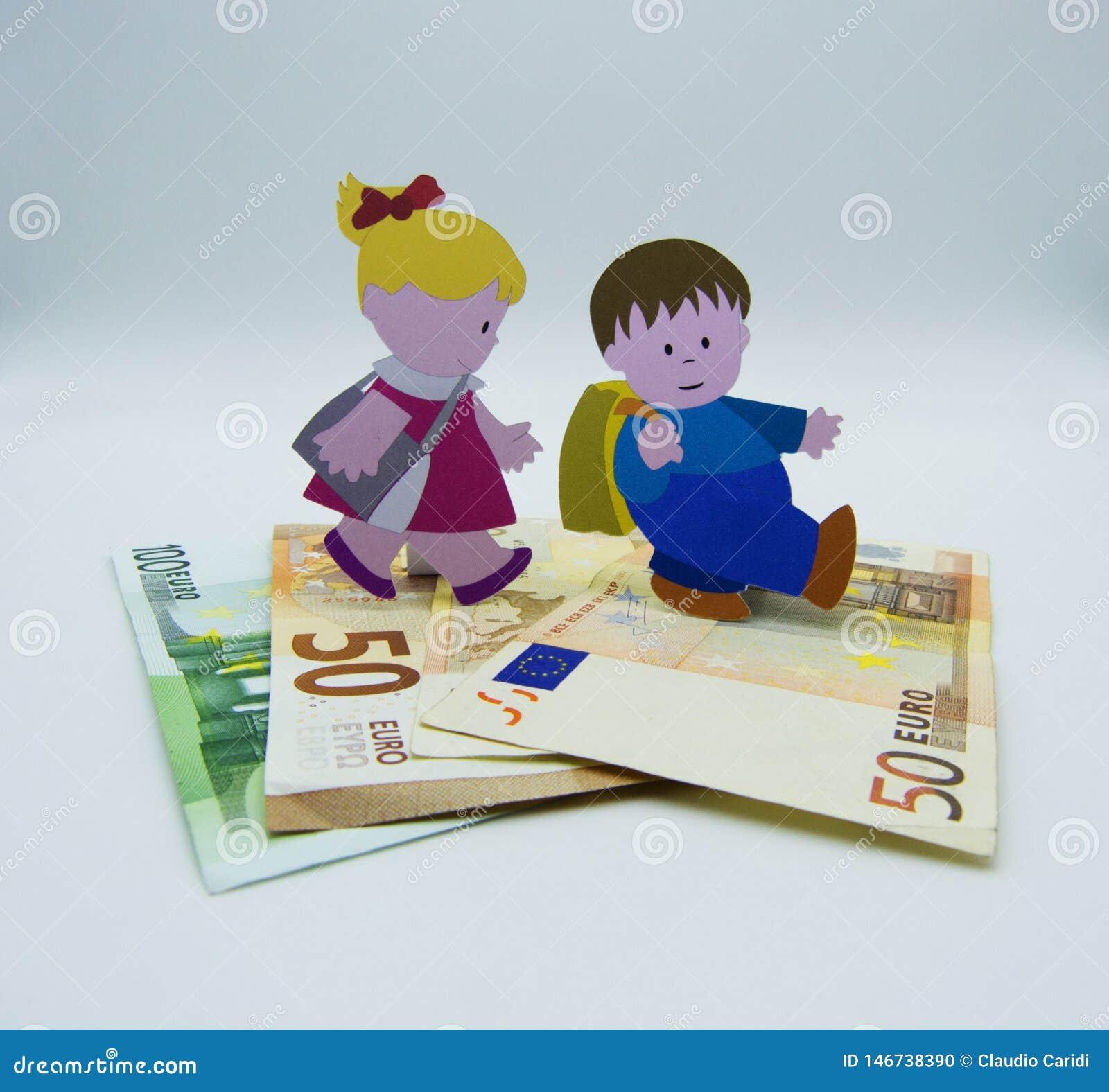 Concetto dei costi crescenti di allevare i bambini su fondo bianco