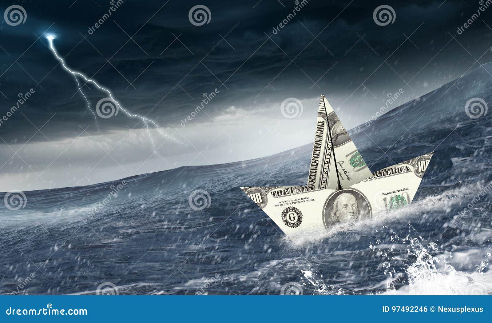 Concetto del crisi finanziario Media misti