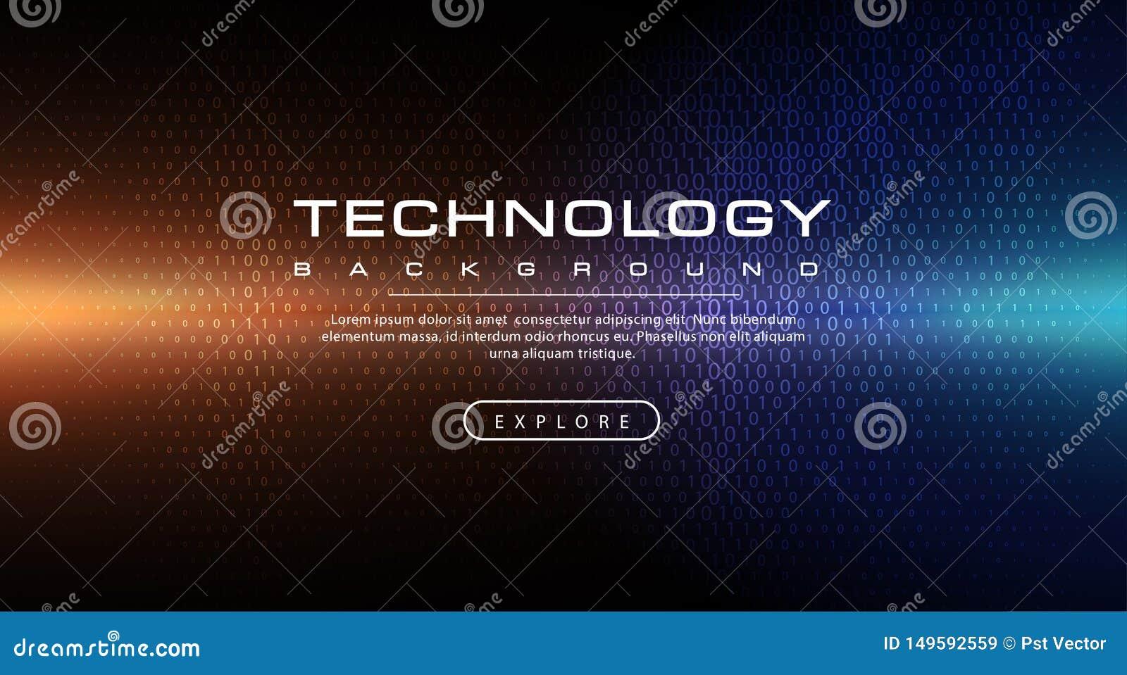 Concetto del fondo di tecnologia con gli effetti della luce astratti del testo di codice binario