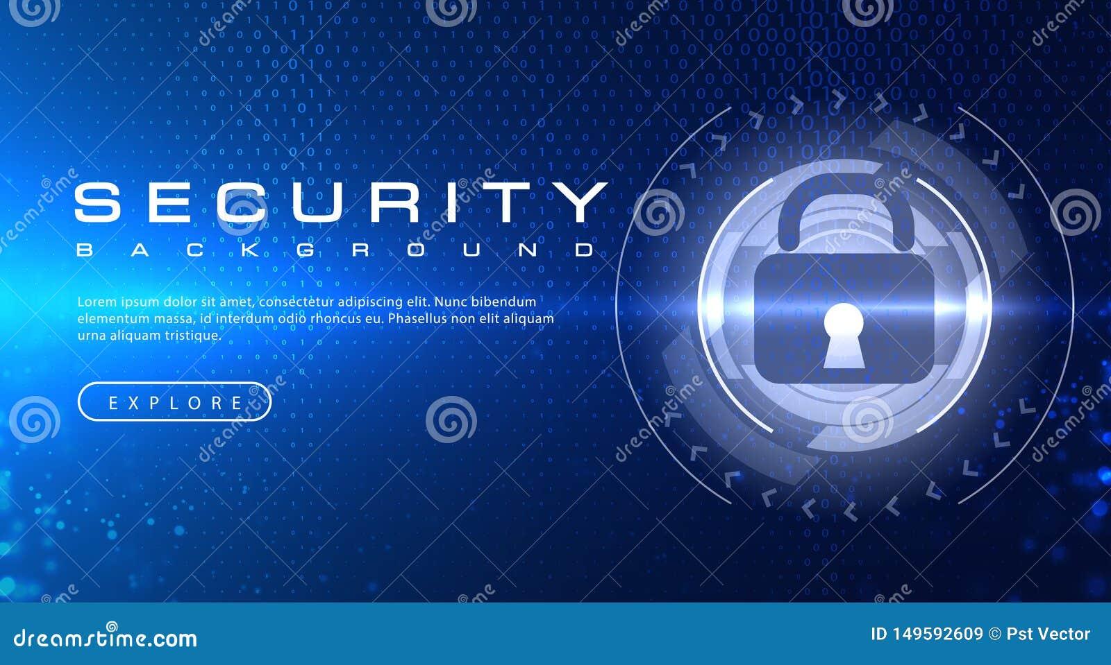 Concetto del fondo di tecnologia di sicurezza con gli effetti della luce astratti del testo di codice binario