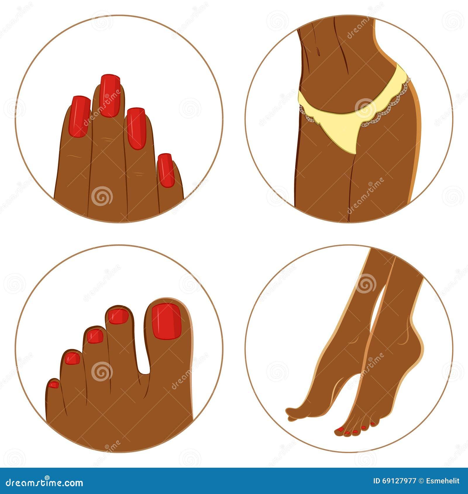 Concetto del manicure, di pedicure e del bodycare Insieme dell icona