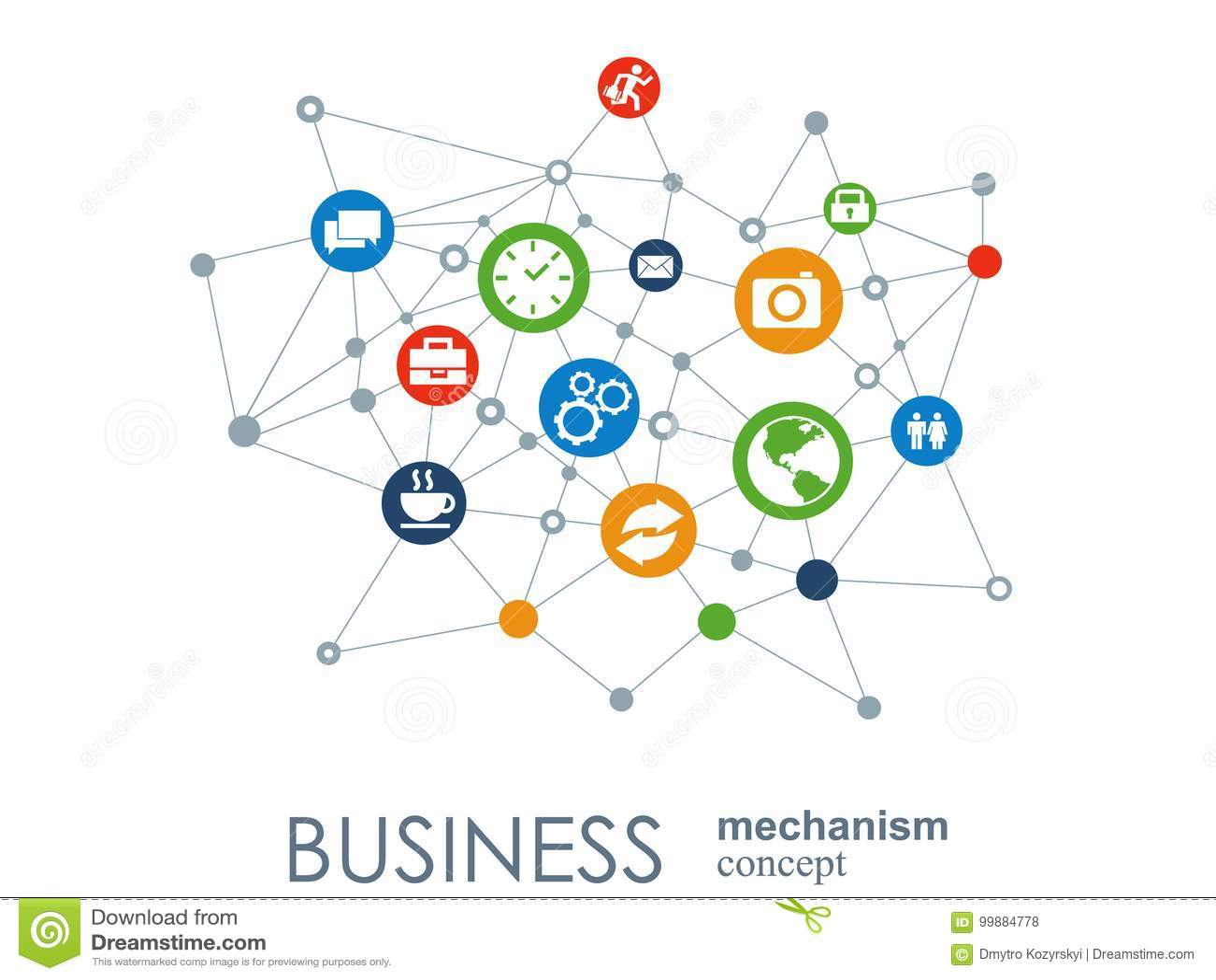 Concetto del meccanismo di affari Fondo astratto con gli ingranaggi e le icone collegati per strategia, servizio, analisi dei dat
