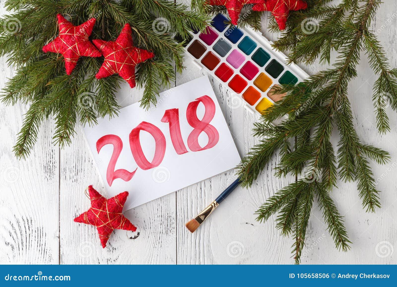 Concetto del nuovo anno 2018 con tiraggio