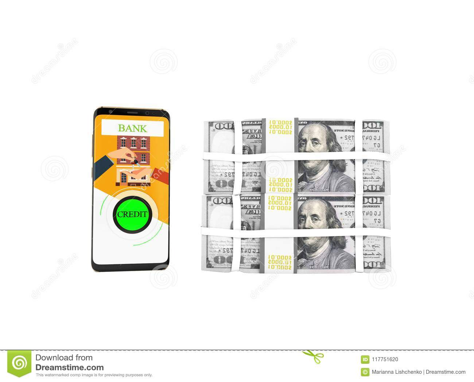Concetto del prestito tramite il telefono in banca nei dollari sulle chiavi