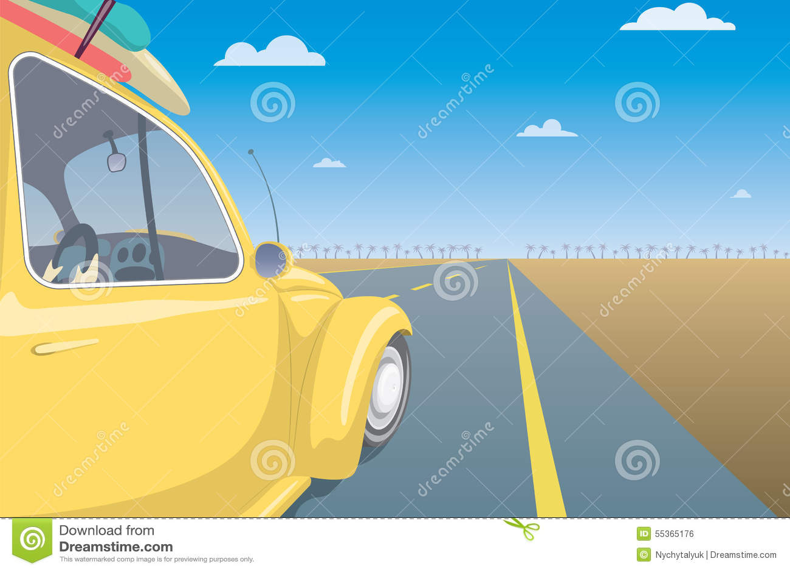 Concetto dell automobile di viaggio di estate Modello della cartolina di vacanza
