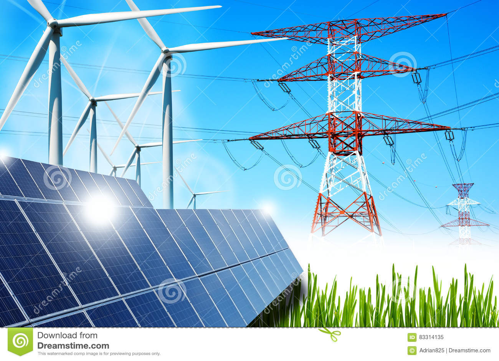 Concetto dell energia rinnovabile con i pannelli solari ed i generatori eolici dei collegamenti di griglia