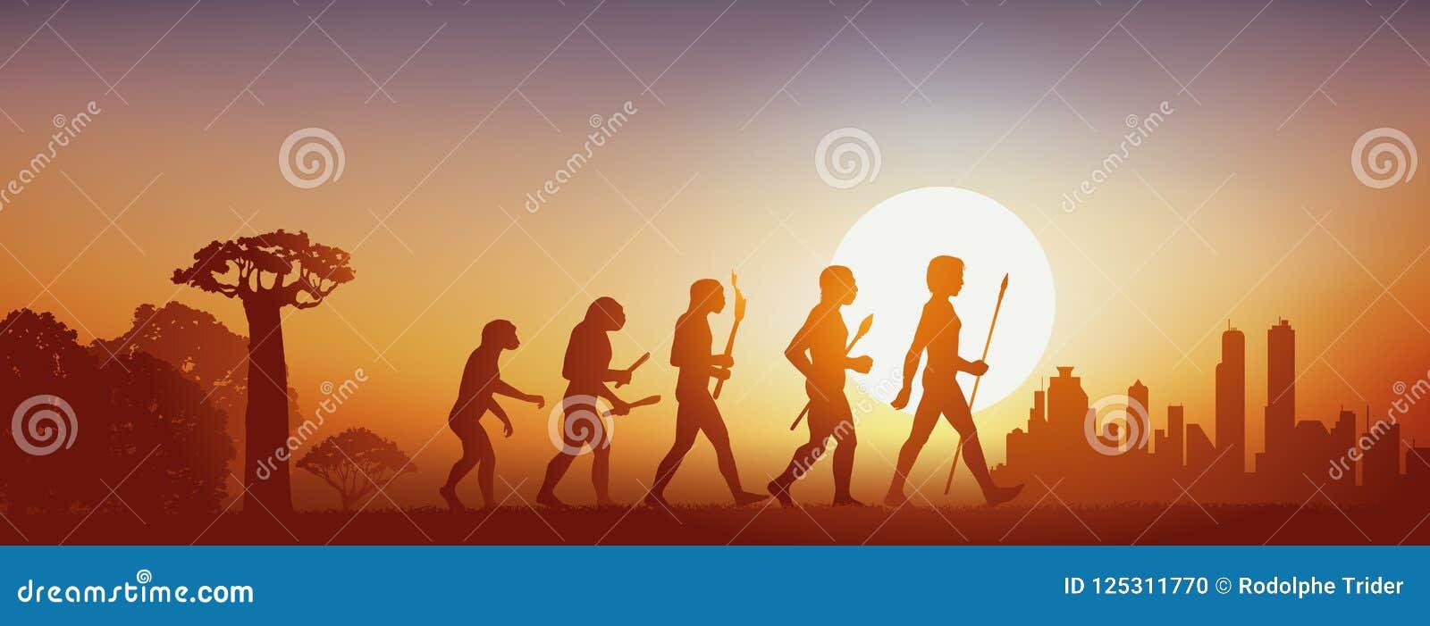Concetto dell evoluzione di umanità che va dalla foresta alla civilizzazione