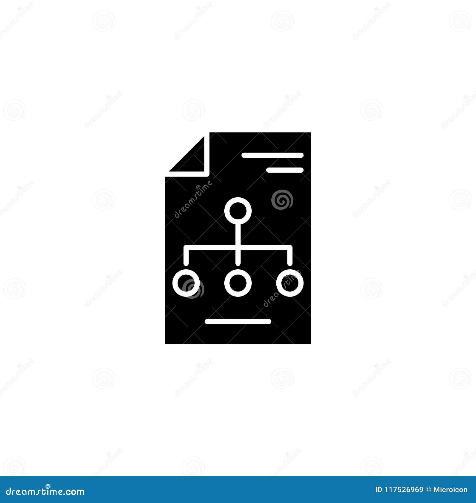 Concetto dell icona del nero della struttura organizzativa Simbolo piano di vettore della struttura organizzativa, segno, illustr