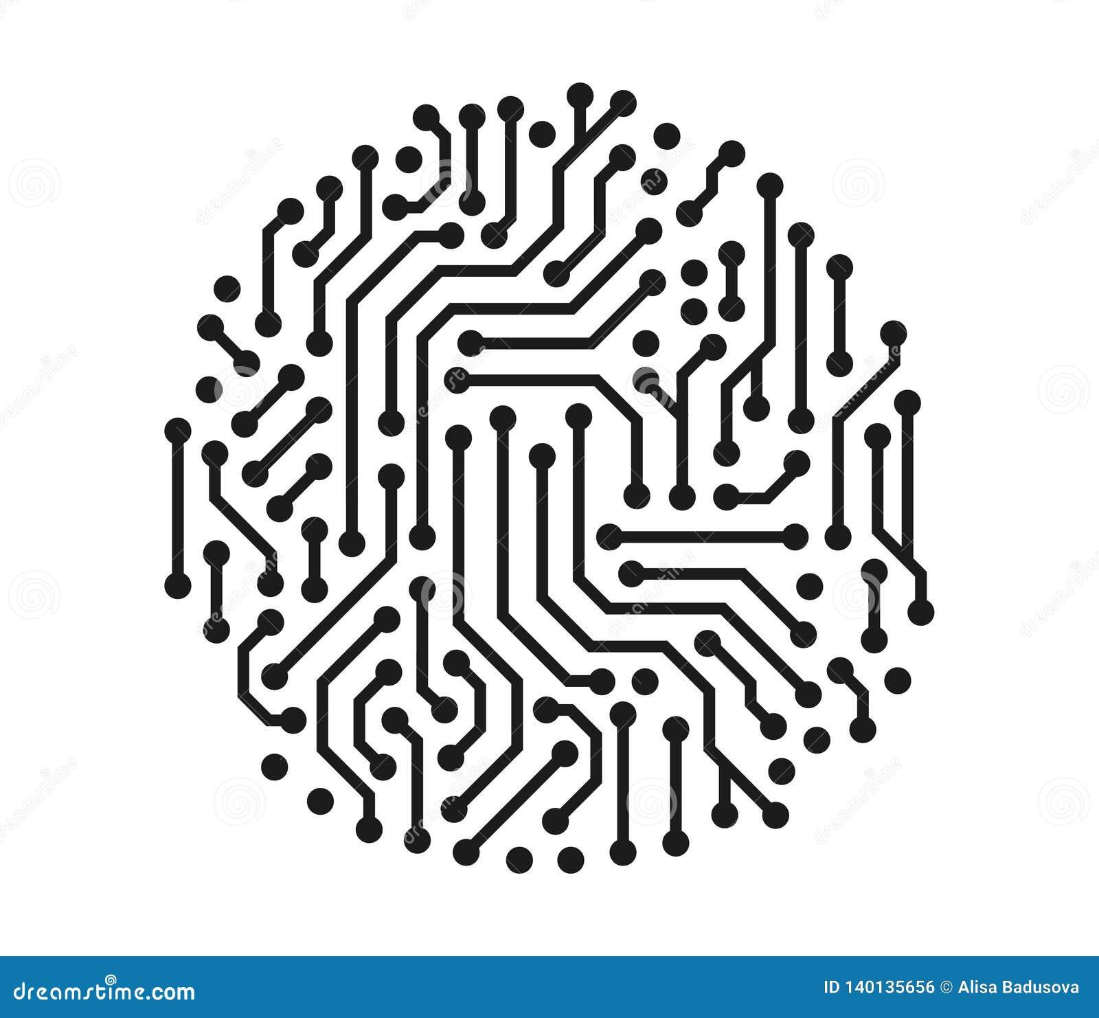 Concetto dell illustrazione di vettore del grafico tecnico del cerchio del circuito Icona su priorità bassa bianca