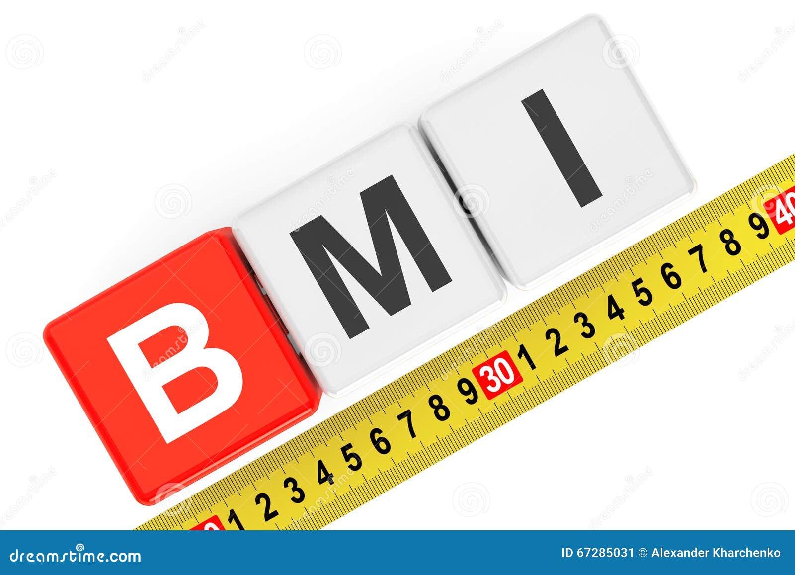 Concetto dell indice di massa corporea Cubi di BMI con nastro adesivo di misurazione