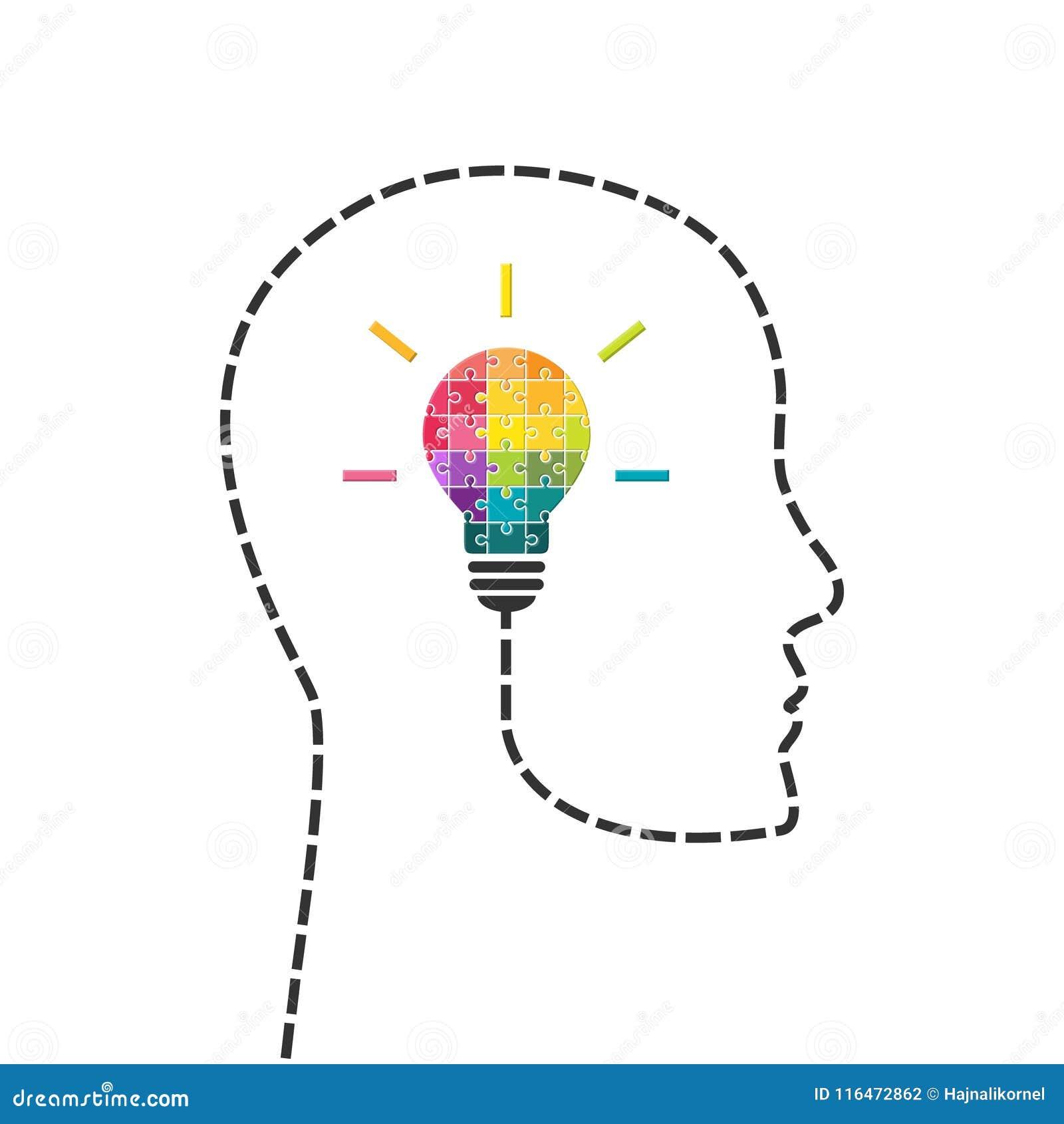 Concetto dell innovazione e di creatività con la lampadina fatta del puzzle