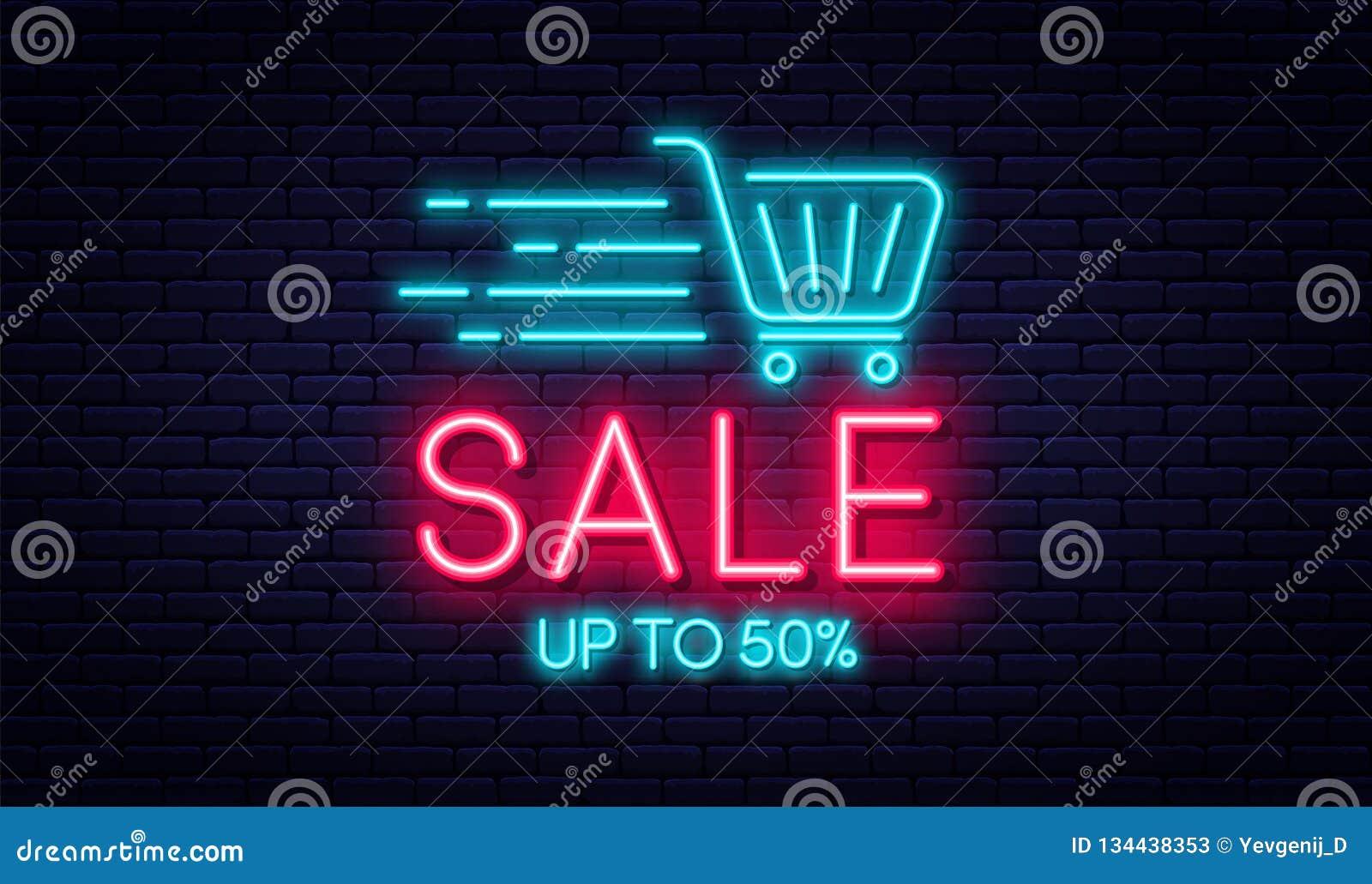 Concetto dell insegna al neon di vendita, di vendita e di sconto Insegna al neon luminosa e d ardore per il commercio elettronico
