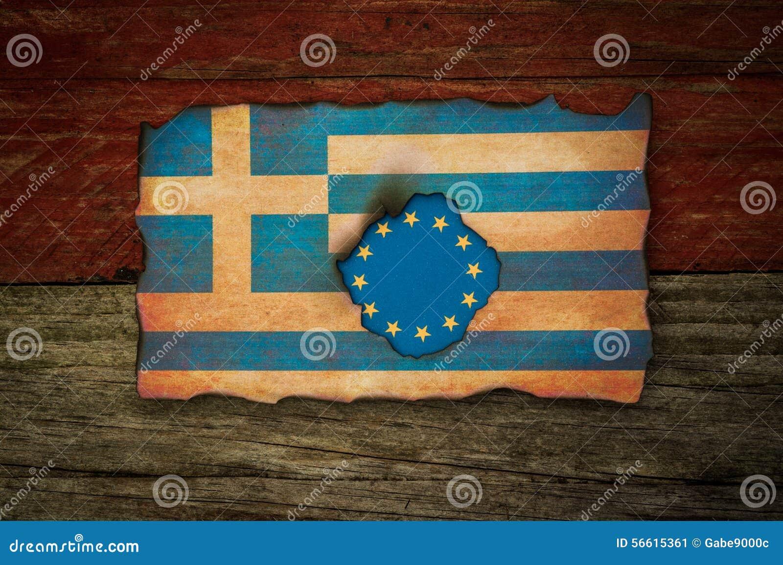 Concetto della bandiera del Greco e dell europeo