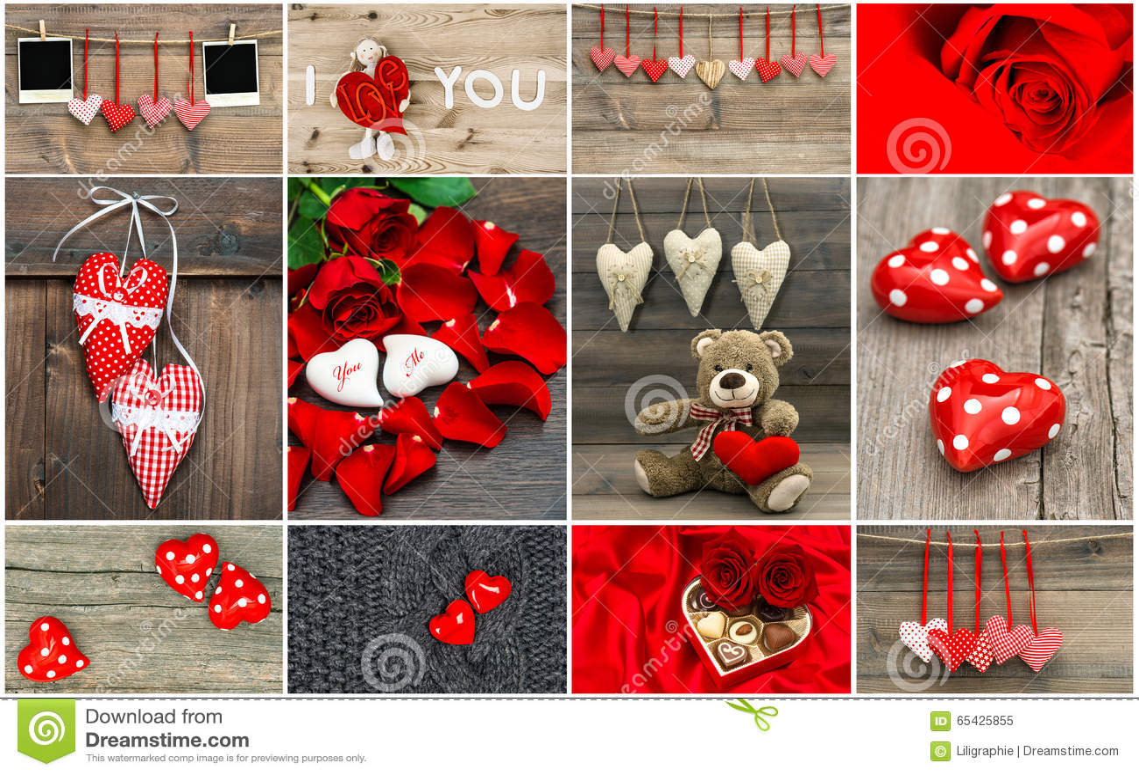 Concetto della carta di giorno di biglietti di S. Valentino Cuori rossi, fiori rosa, decoratio