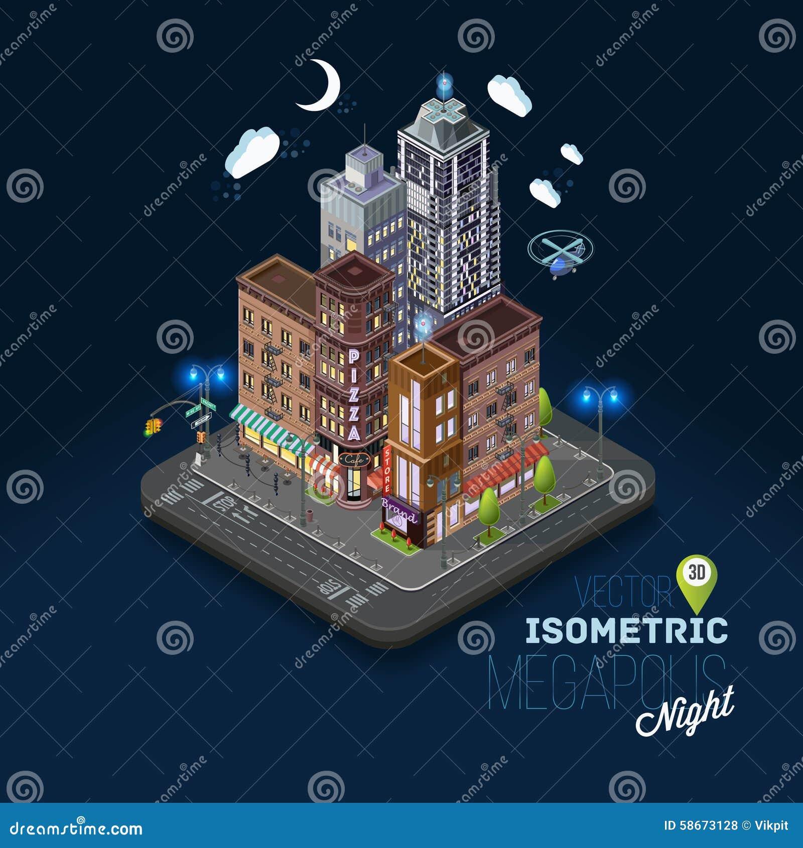 Concetto della città con le costruzioni isometriche,