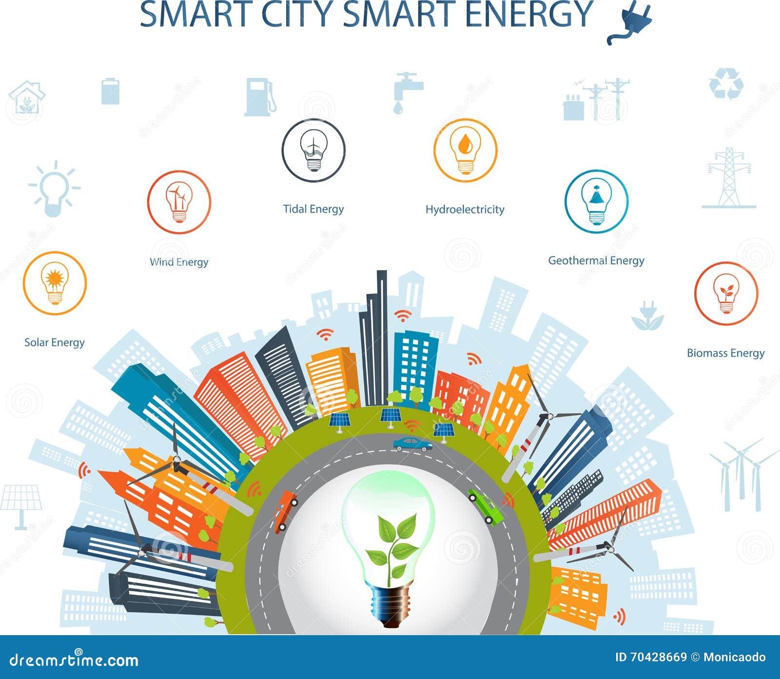 Concetto della città ed energia astuti di Smart