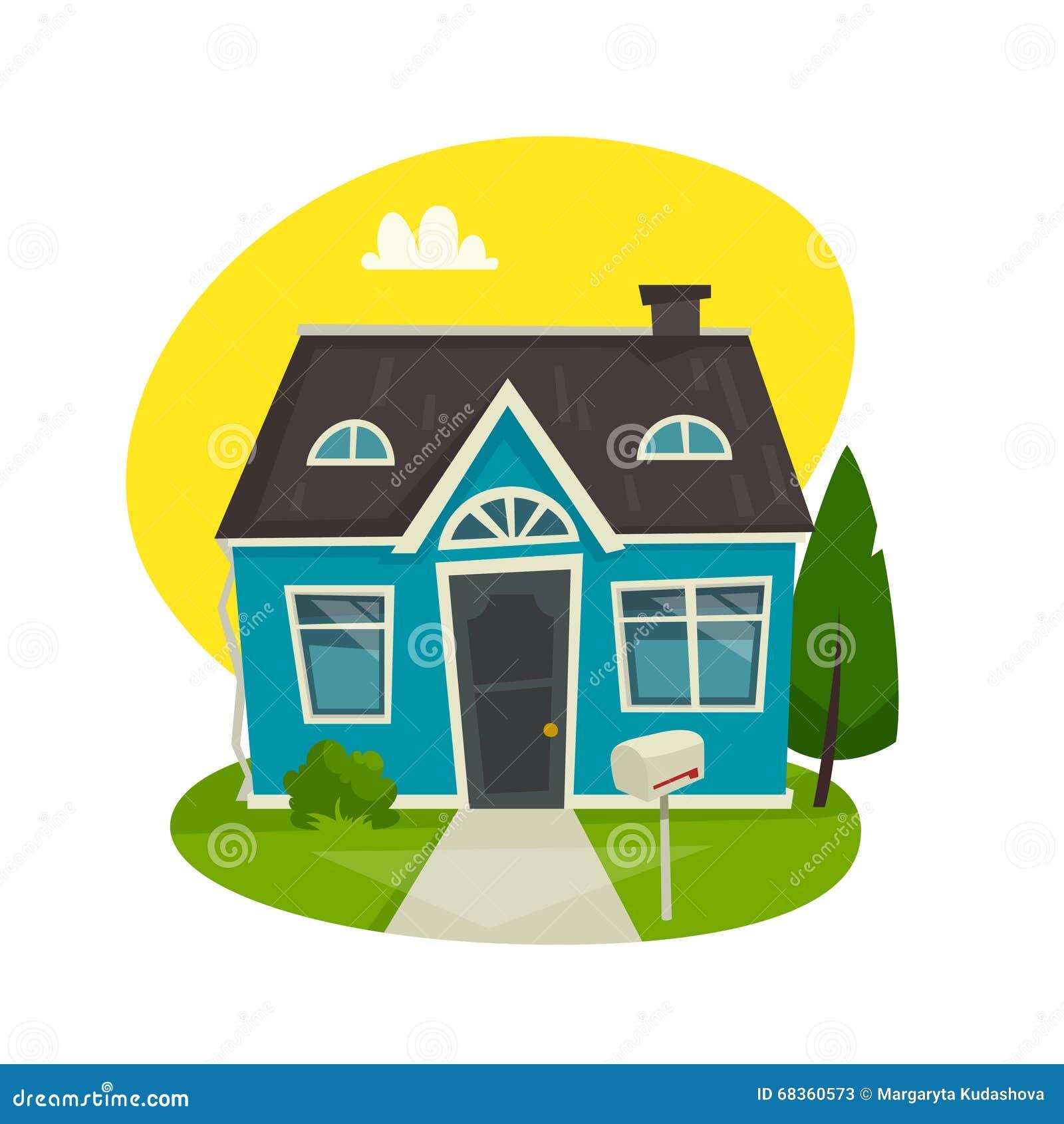 Concetto della costruzione della Camera, esterno del cottage, illustrazione di vettore del fumetto