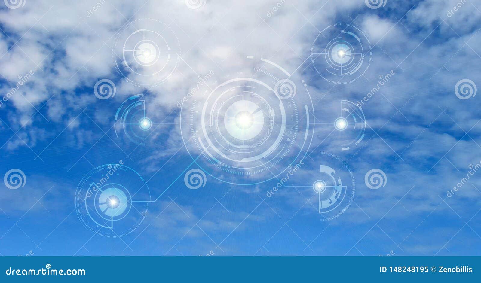 Concetto della rete di computazione della nube Protezione dei dati Concetto cyber globale di sicurezza della rete dello spazio