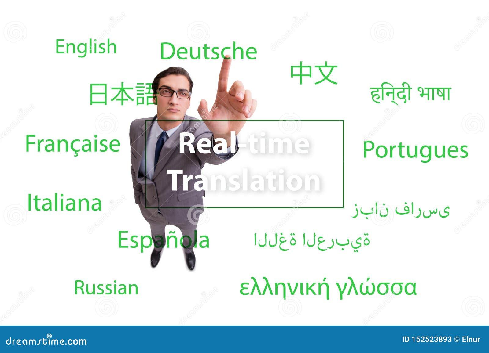 Concetto della traduzione in tempo reale dalla lingua straniera