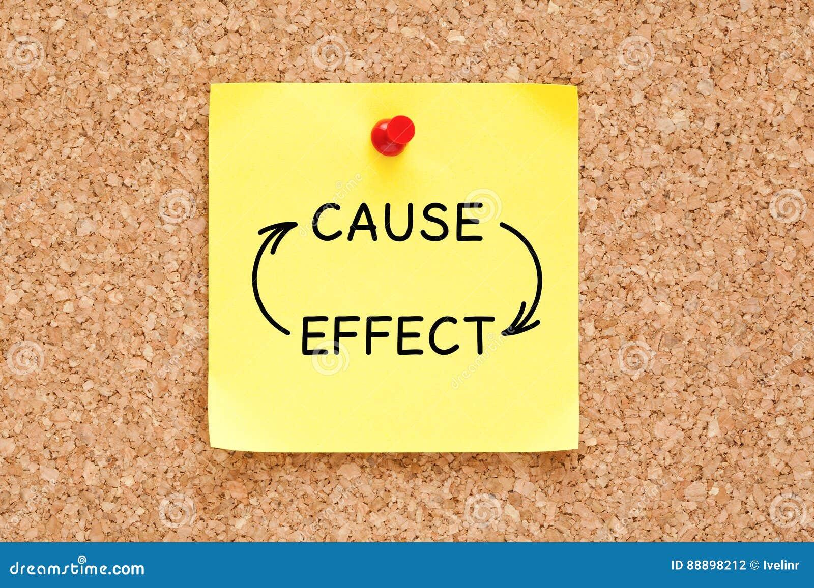 Concetto delle frecce di effetto di causa sulla nota appiccicosa