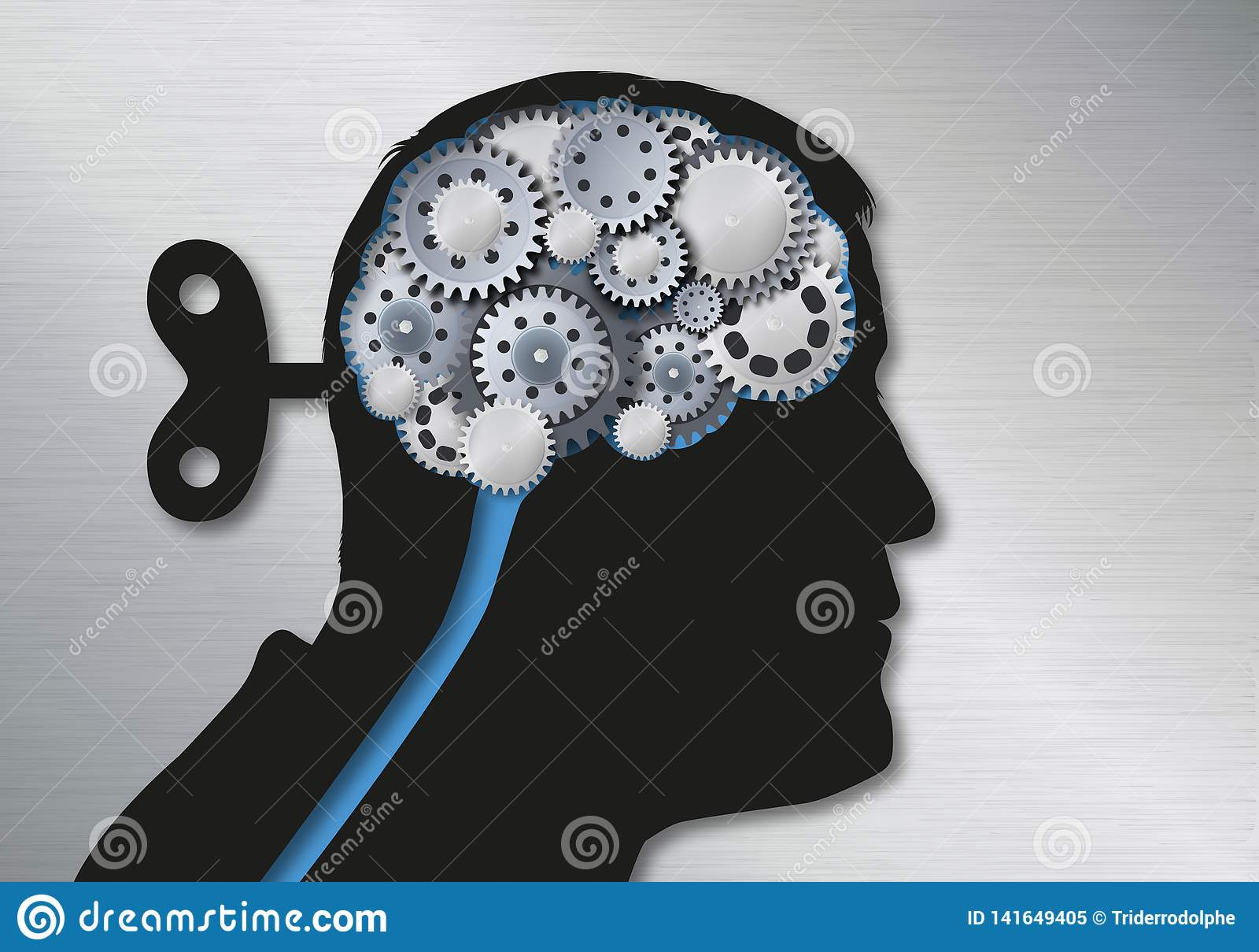 Concetto delle notizie false e della manipolazione simbolizzate da una testa umana con una chiave alla parte posteriore del crani