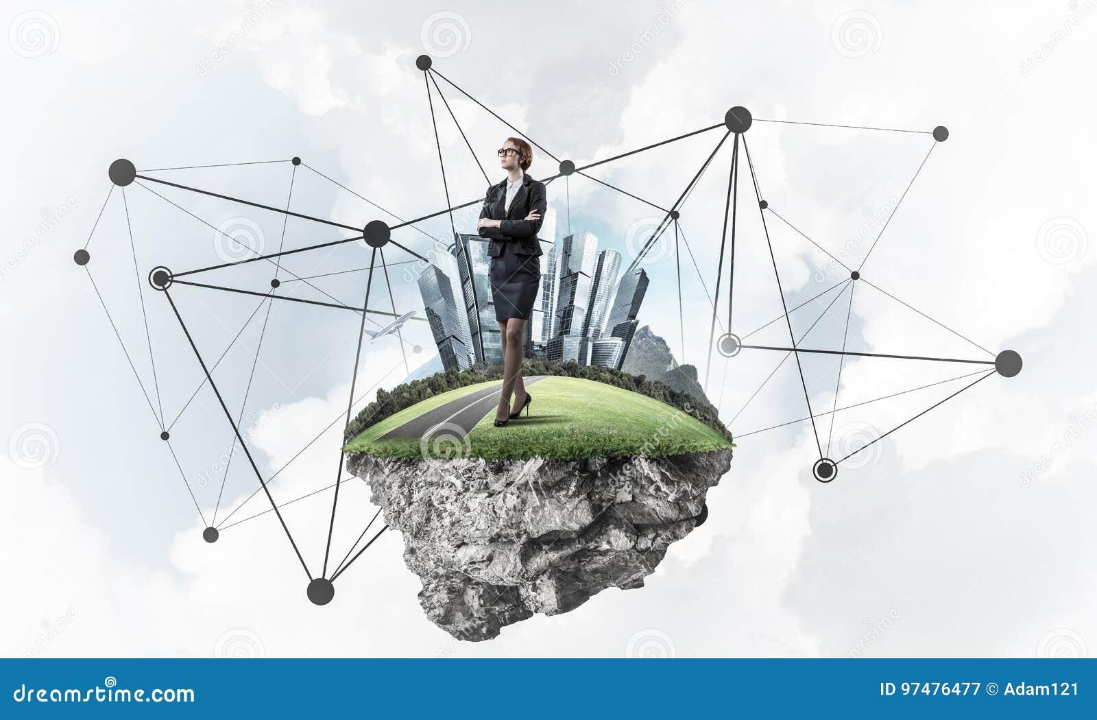 Concetto delle tecnologie wireless moderne come efficace strumento per i Bu