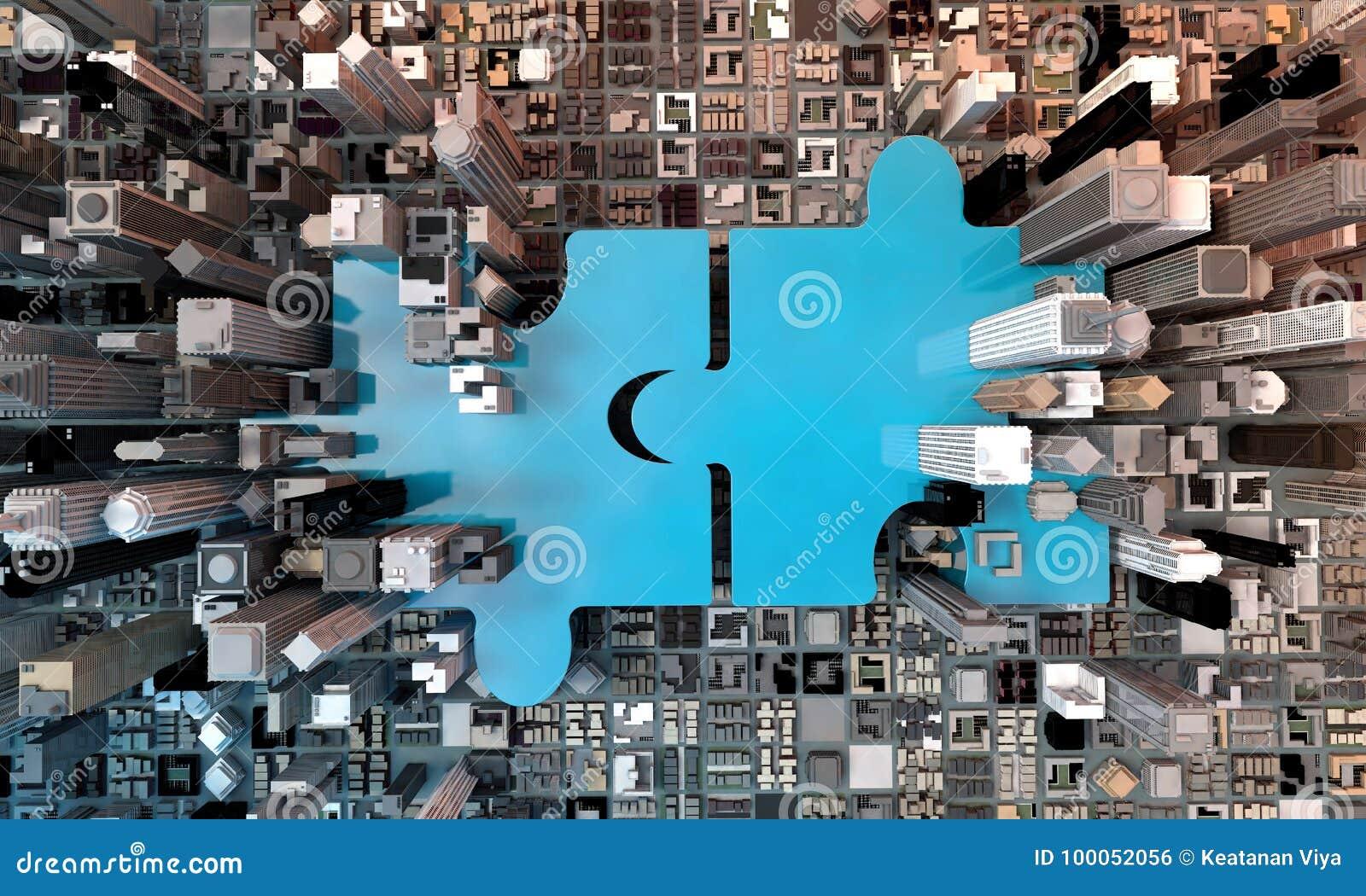 Concetto di affari di acquisizione e di fusione, puzzle 3d dell unire