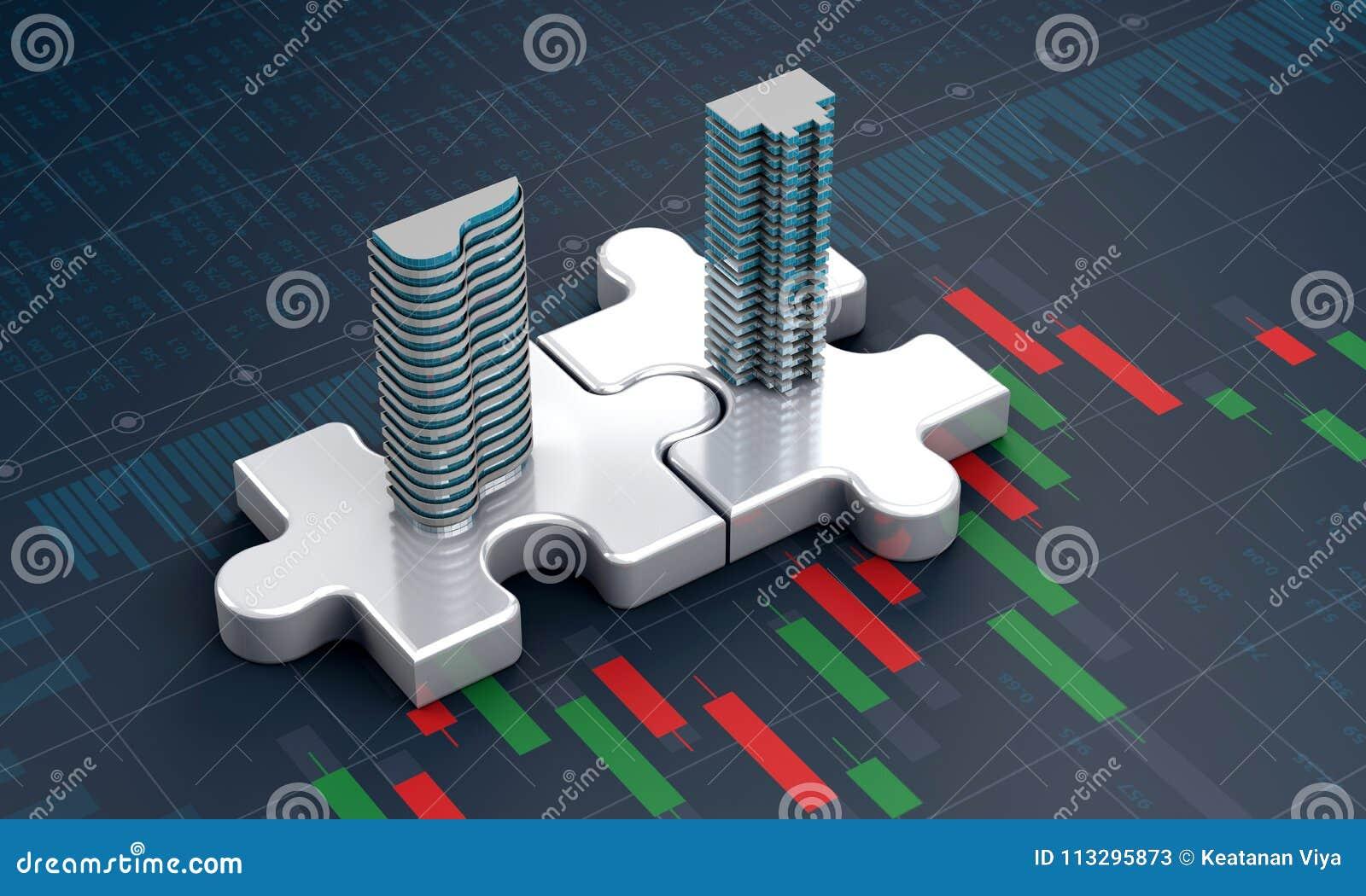 Concetto di affari di acquisizione e di fusione, società dell unire sul puzzle