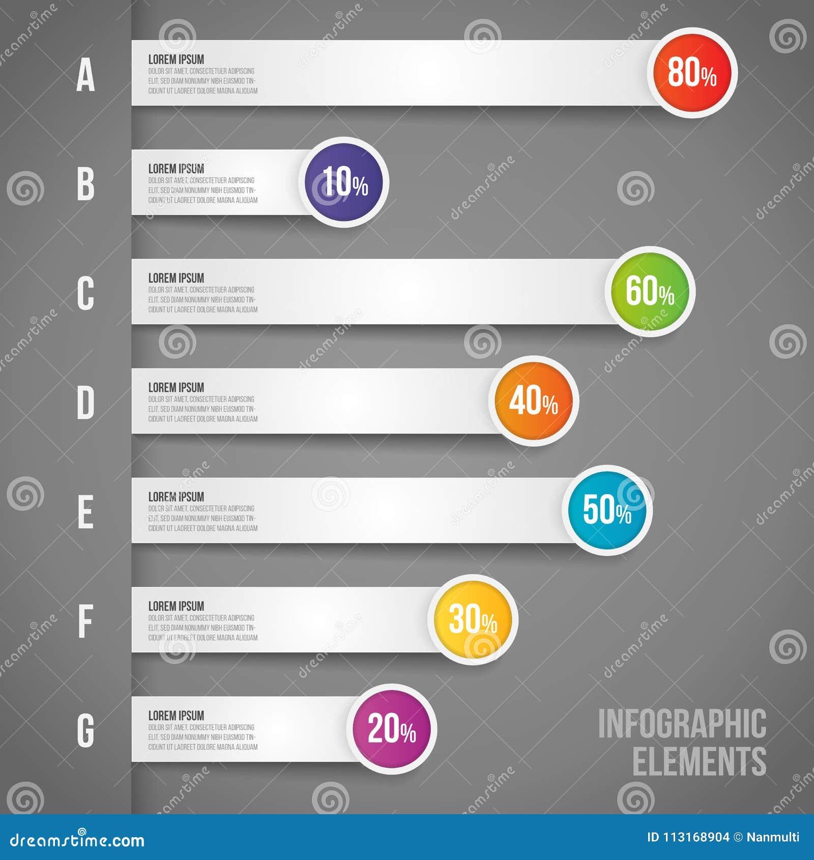 Concetto di affari con la percentuale in flusso di lavoro di infographics di vettore, istogramma, diagramma per il rapporto annua