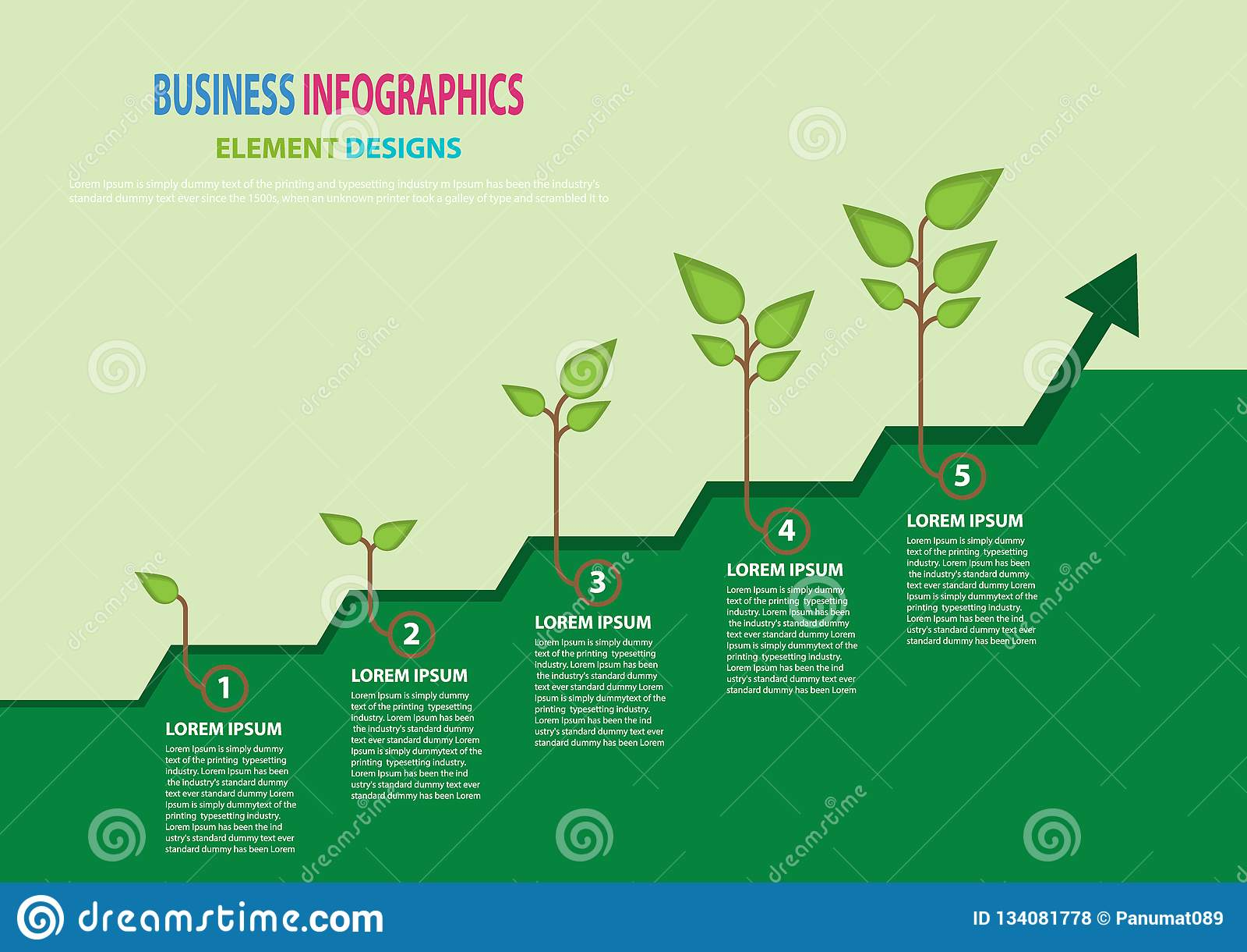 Concetto di affari di crescita Crescita di pianta con successo di processeso 5 Illustrat infographic di vettore