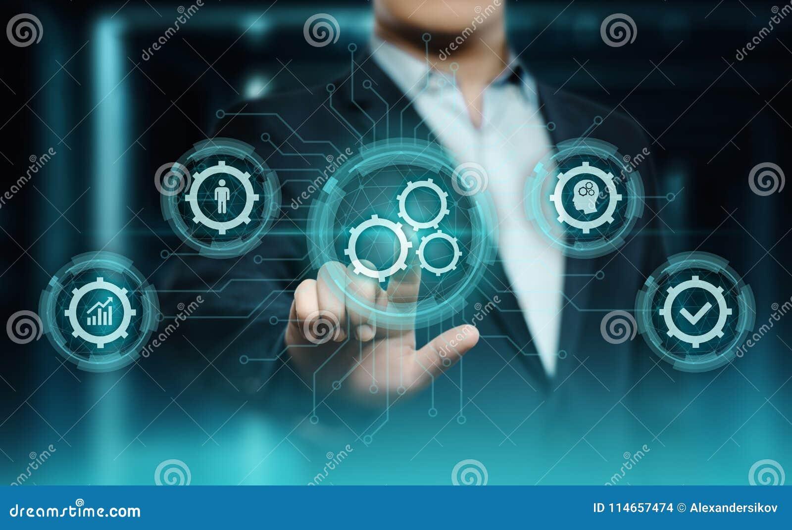 Concetto di affari del sistema di produzione di tecnologia software di automazione