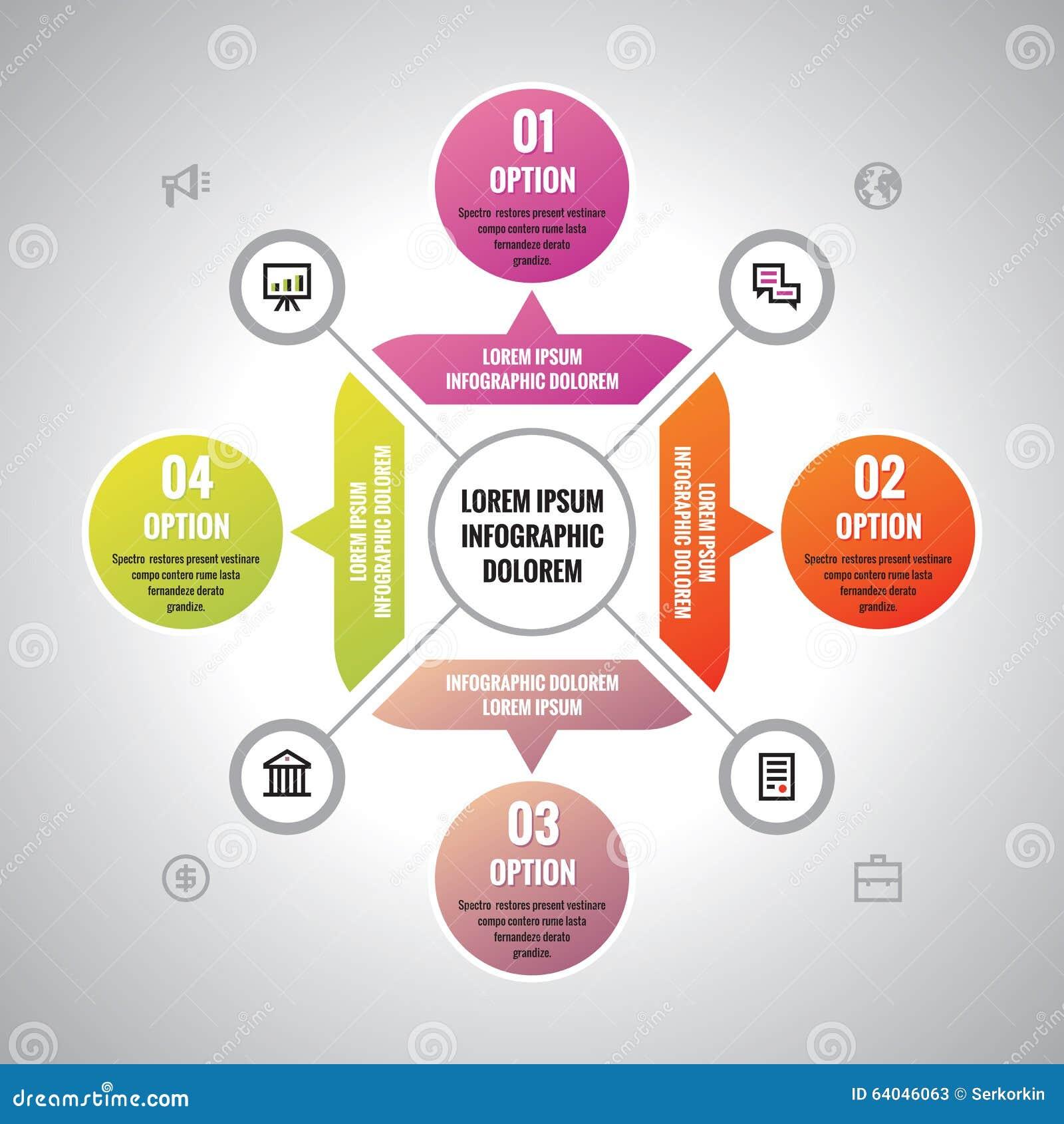 Concetto di affari di Infographic - disposizione creativa di vettore con le icone per la presentazione, opuscolo, sito Web Modell
