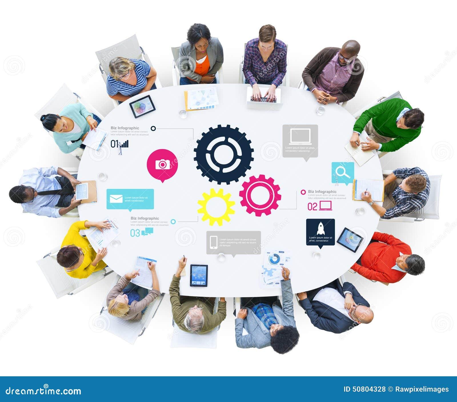 Concetto di affari di Team Teamwork Cog Functionality Technology