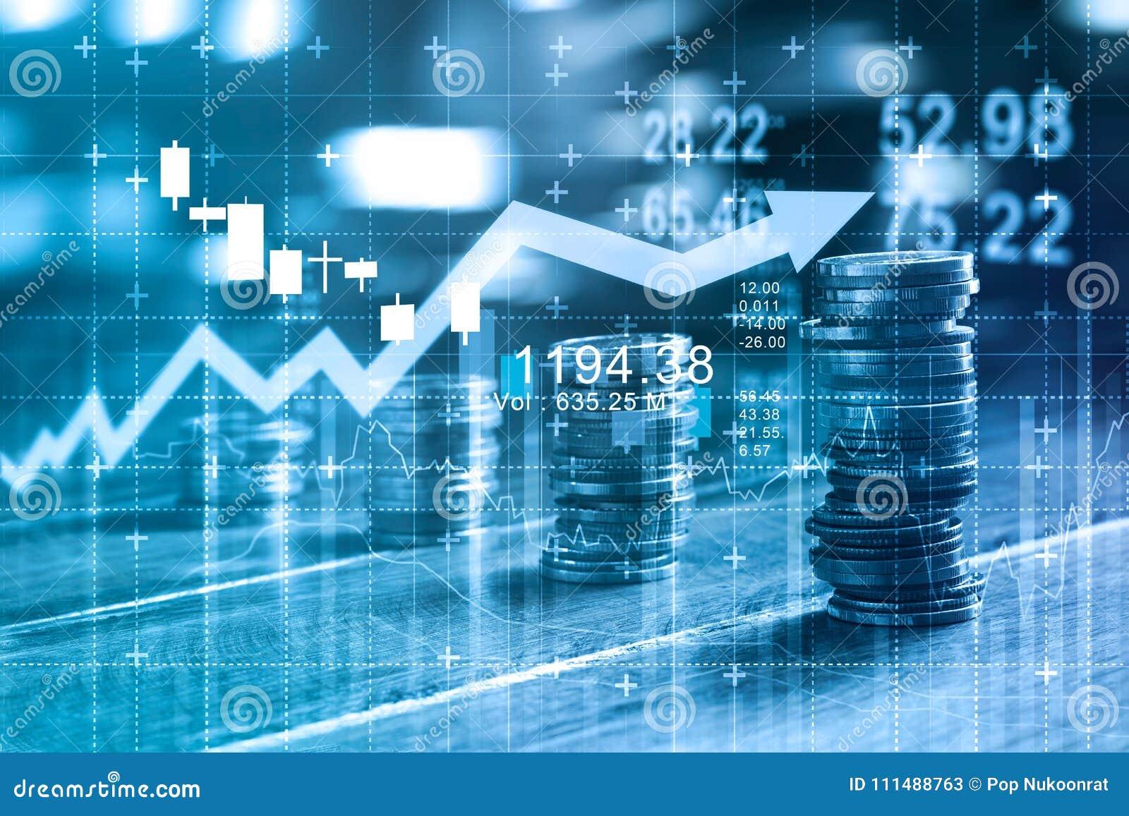 Concetto di affari e di finanza Grafico di Invesment e file delle monete