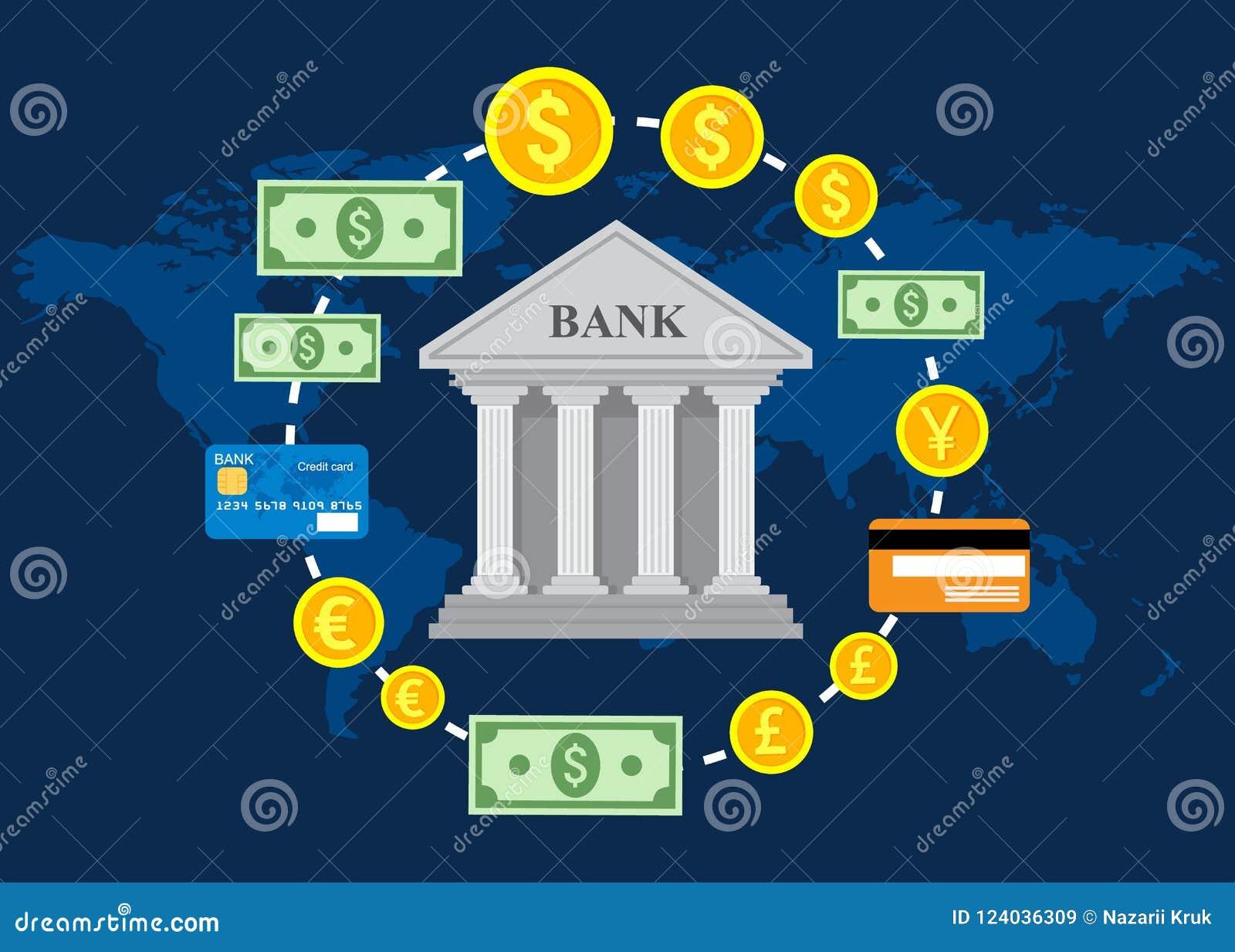 Concetto di attività bancarie, mercato dei cambi globale, commercio di attività bancarie, sistema bancario Illustrazione di vetto