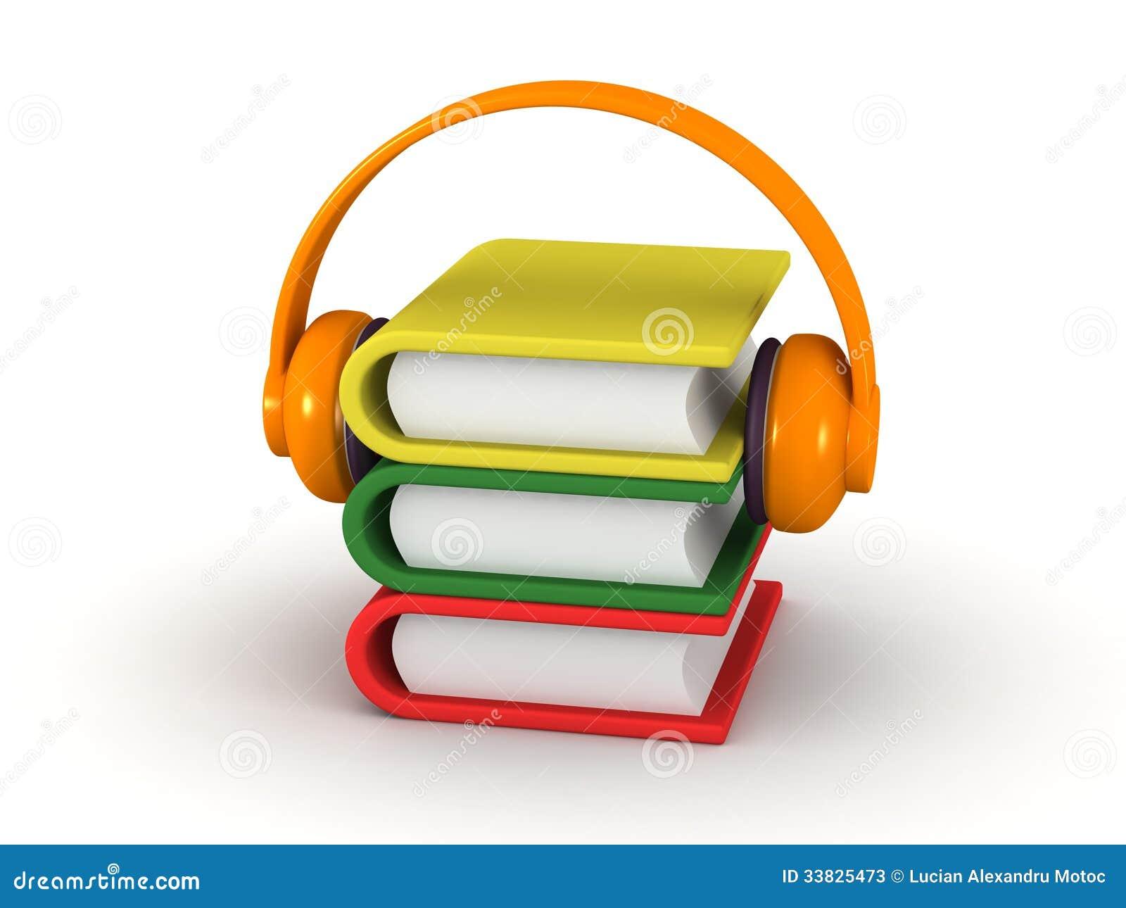 Concetto di audiolibro libri 3d e cuffie illustrazione for Cuffie antirumore per studiare