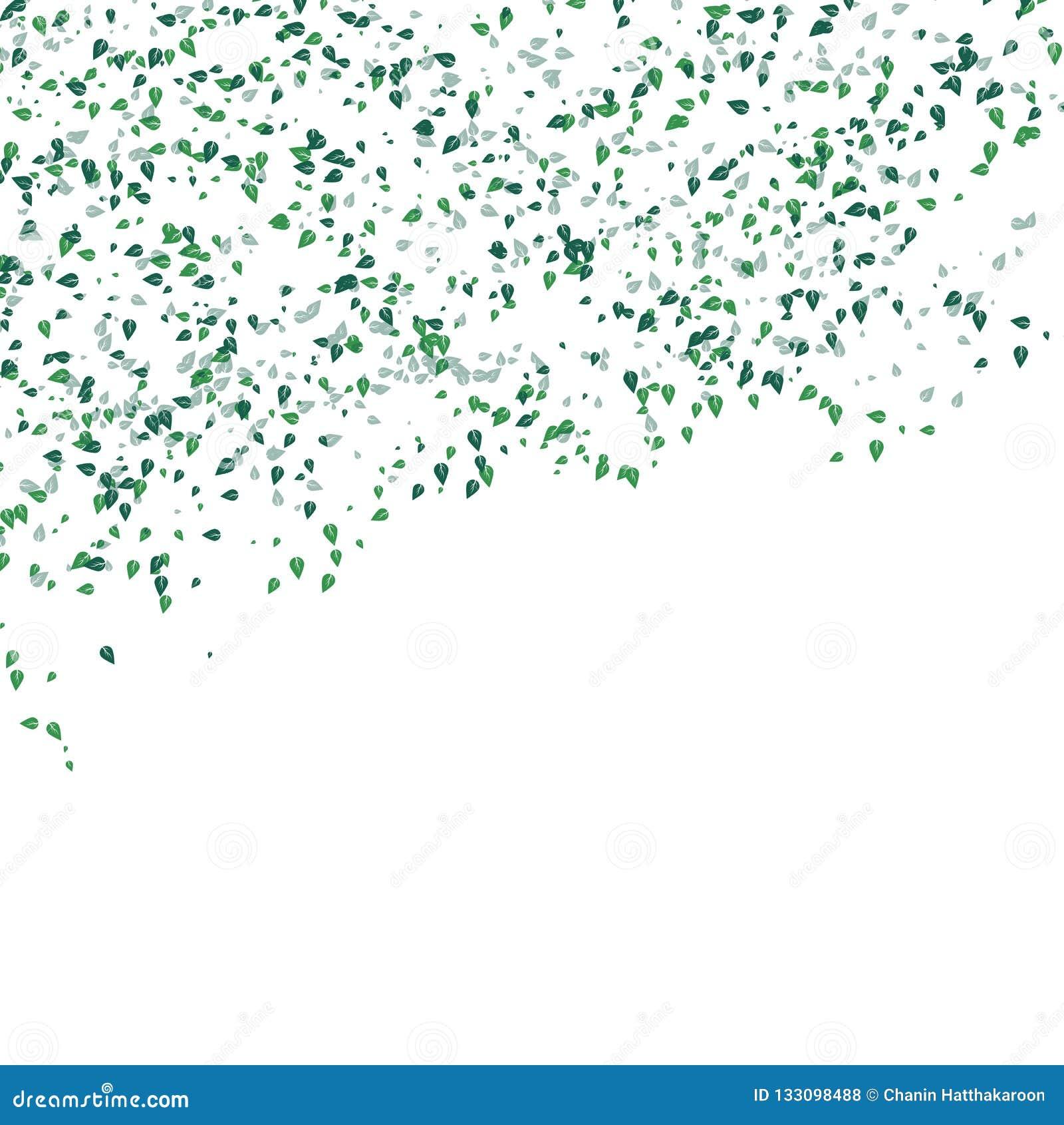 Concetto di caduta delle foglie verdi dello spargimento su backgroun astratto bianco