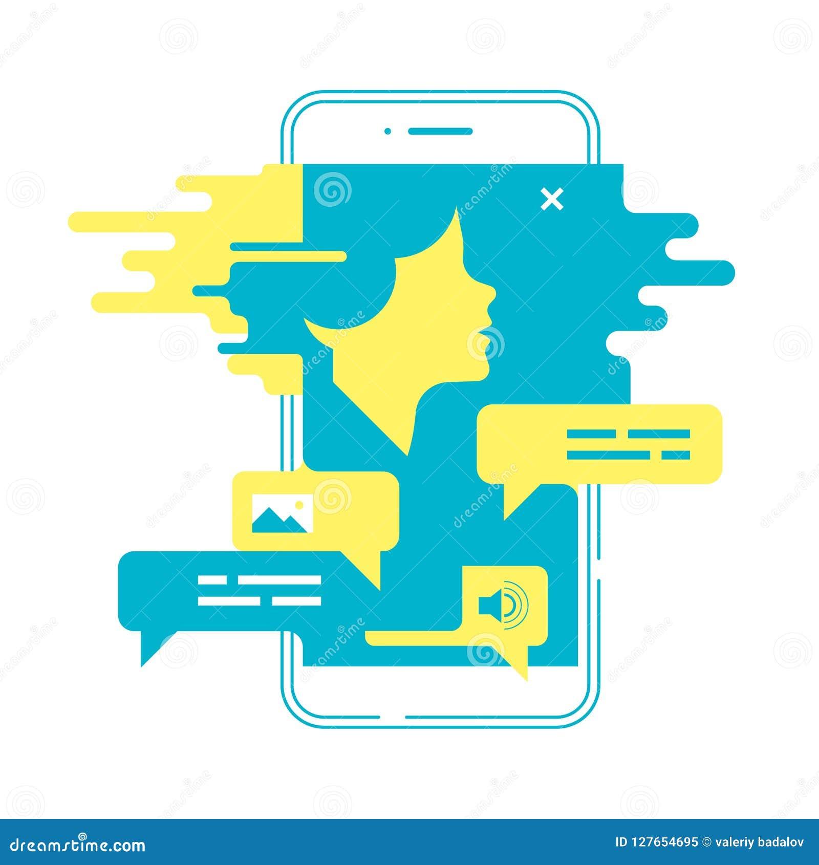 Concetto di chiacchierata Uomo che chiacchiera con il chatbot sullo smartphone Illustrazione di vettore
