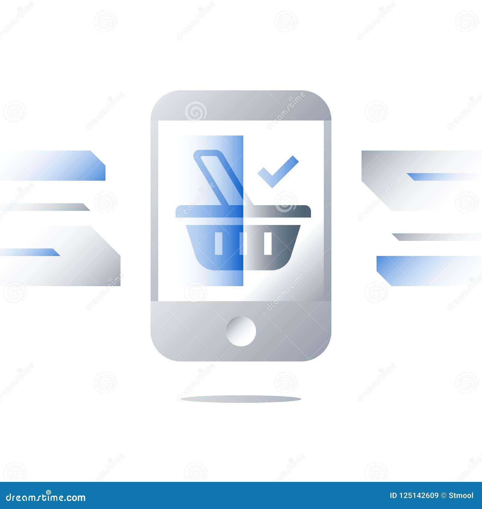 Concetto di commercio elettronico, simbolo del canestro della drogheria sullo schermo del telefono cellulare, acquisto di aliment