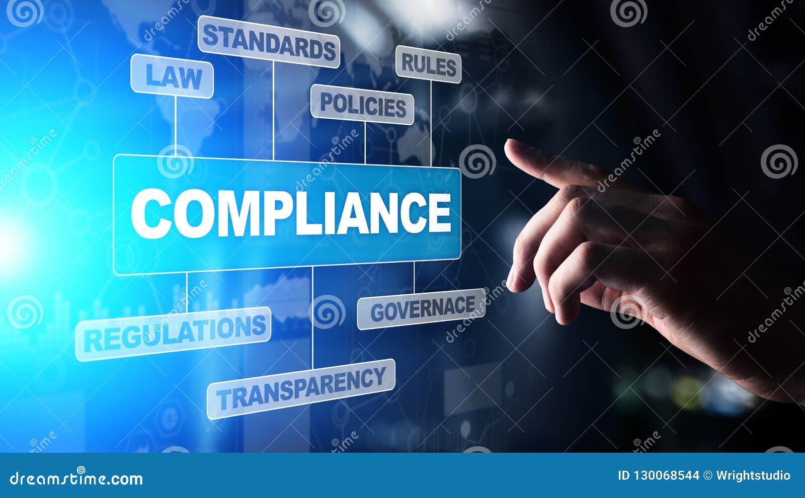 Concetto di conformità con le icone ed il testo Regolamenti, legge, norme, requisiti, diagramma di verifica sullo schermo virtual