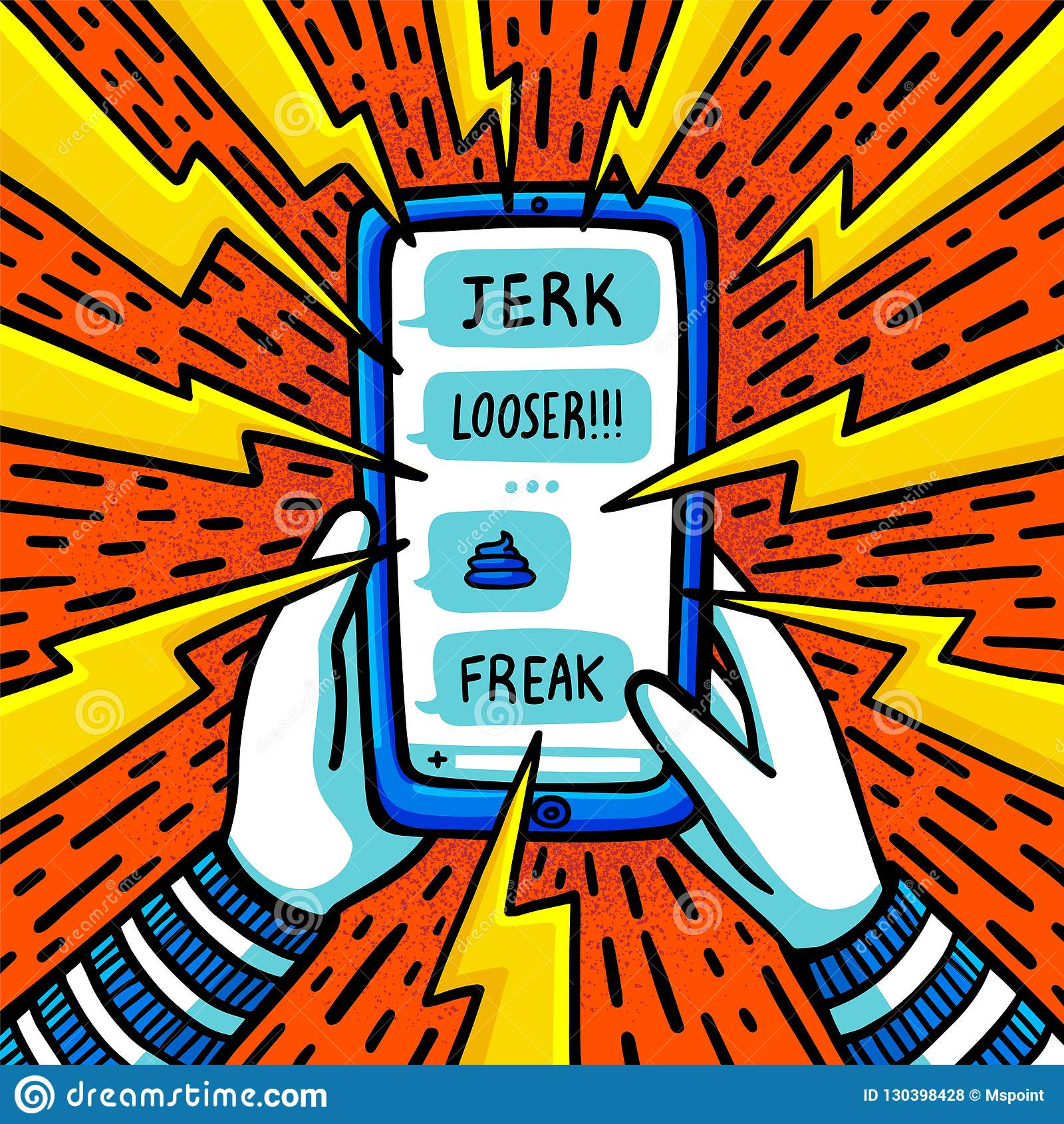 Concetto di cyberbullismo Adolescente che è oppresso dai messaggi di testo abusivi Illustrazione piana di vettore di stile